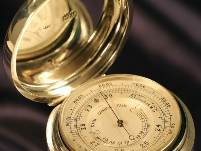 SILVER POCKET BAROMETER WITH THERMOMETER BY THORNHILL c1899