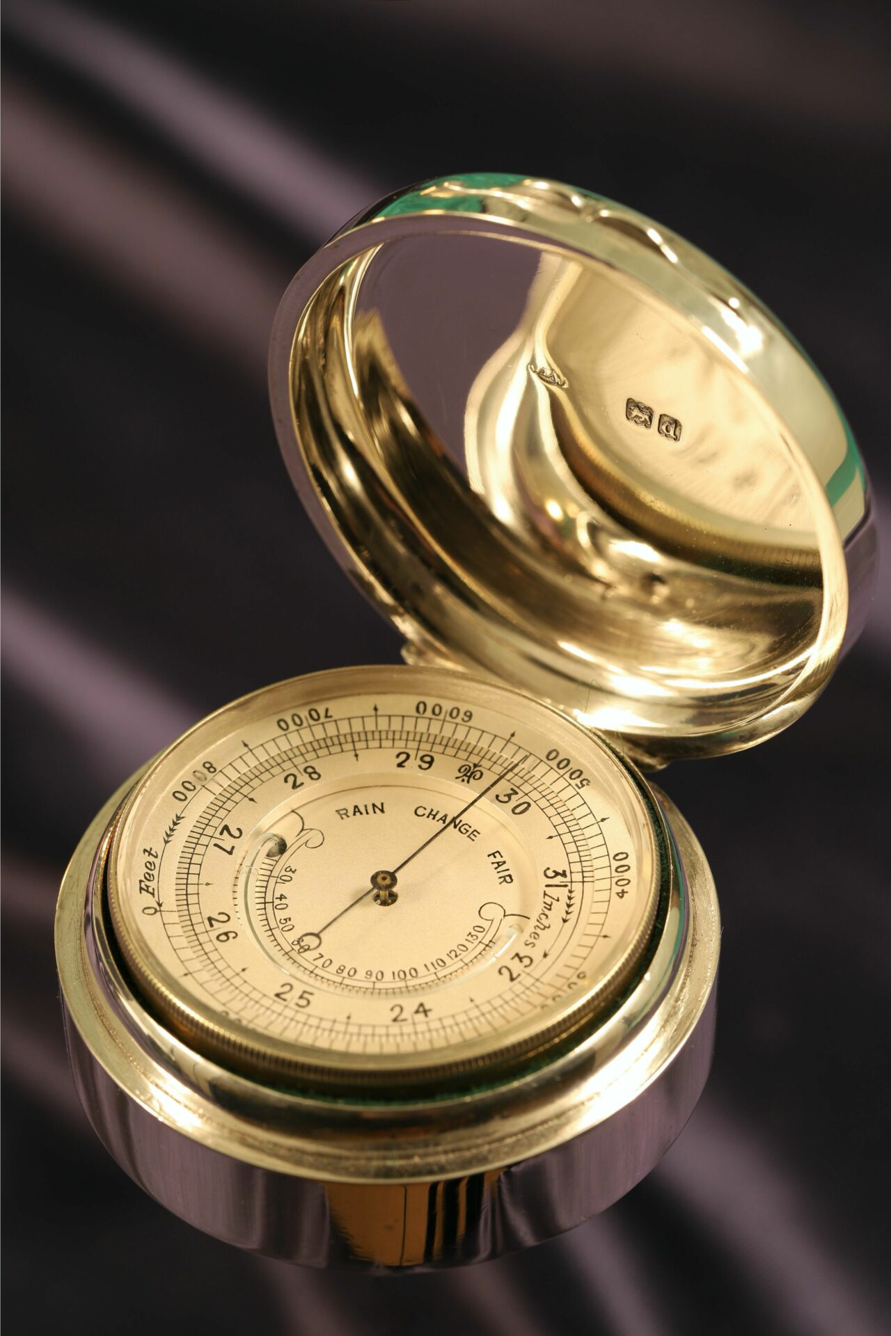 Image of the open case for Silver Pocket Barometer Compendium by Thornhill c1899 showing the dial and the inner lid hallmarks taken from right