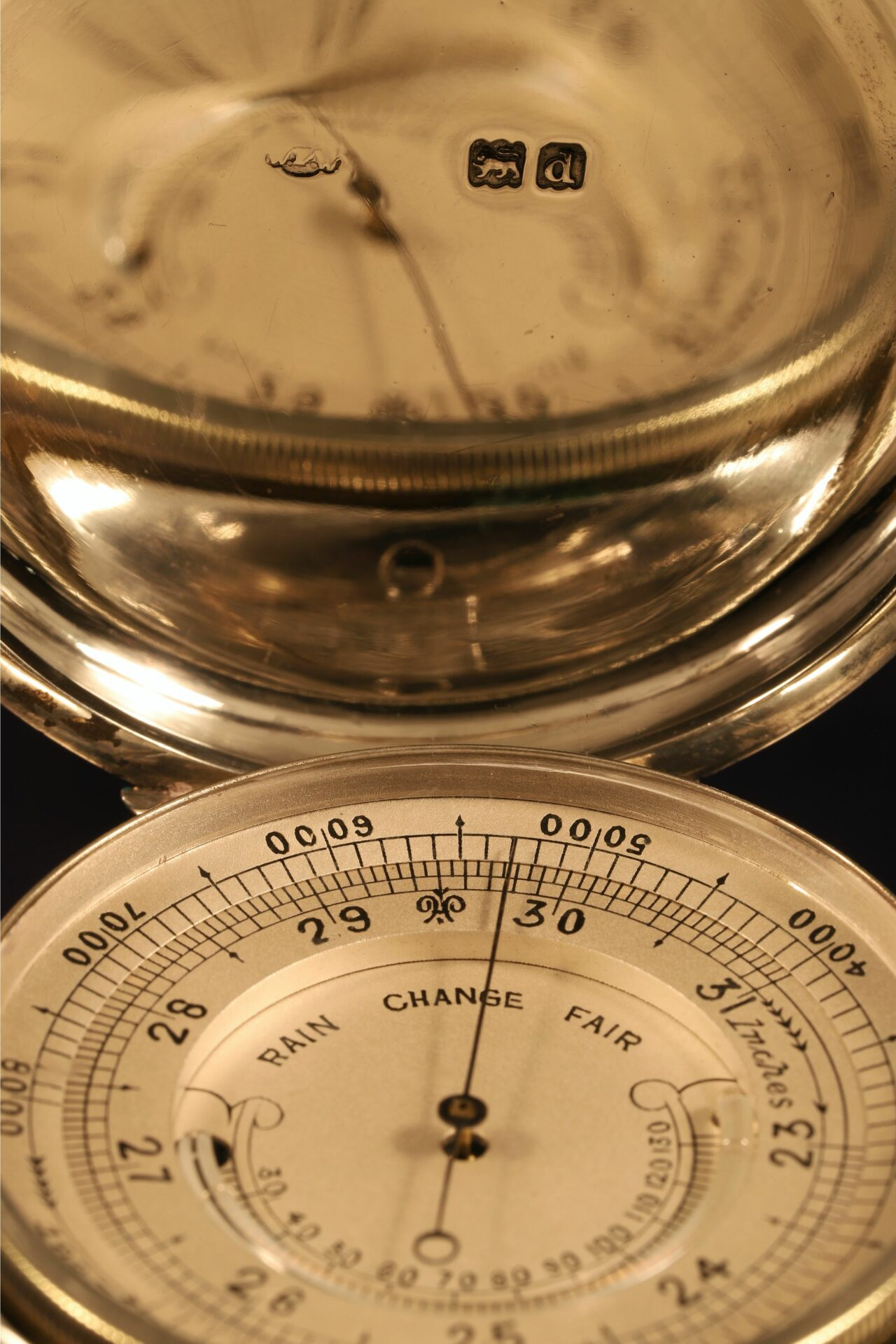 Image of Silver Pocket Barometer Compendium by Thornhill c1899 showing dial and hallmarks