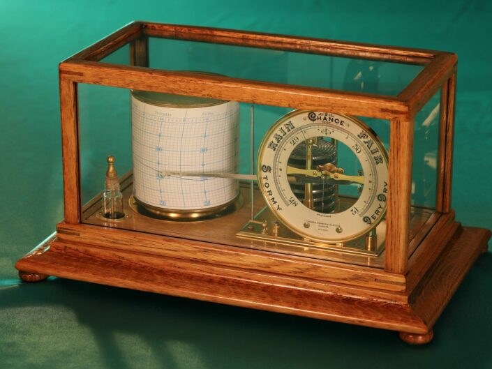 SHORT & MASON TYCOS DRUM BAROGRAPH AND BAROMETER No H 5431 c1930 - Sold