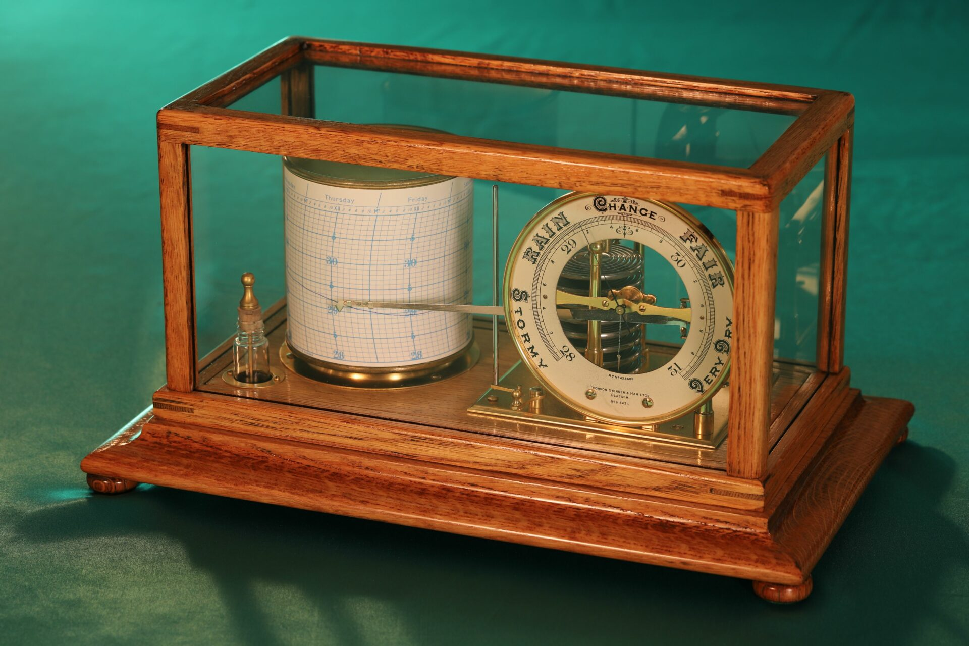 Image of Short & Mason Tycos Drum Barograph with Dial No 5431 c1930 taken from above right