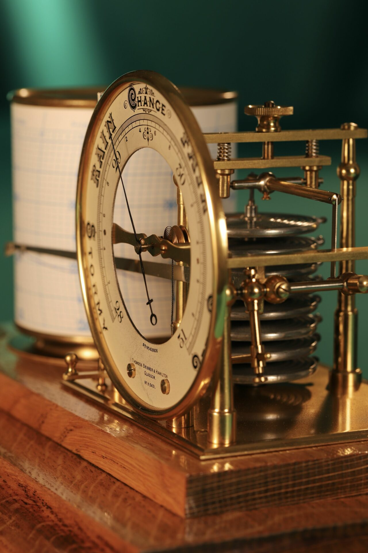 Close up of Short & Mason Tycos Drum Barograph with Dial No 5431 c1930 with case lid removed, focusing on dial