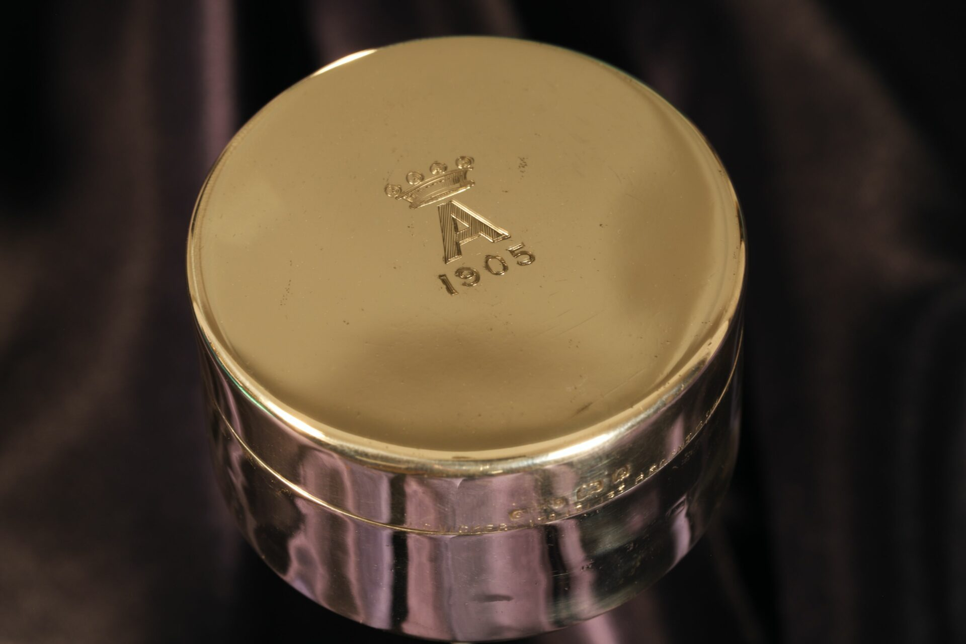 Image of lid of Silver Travel Barometer by Gourdel Vales c1900 showing monogram and hallmarks