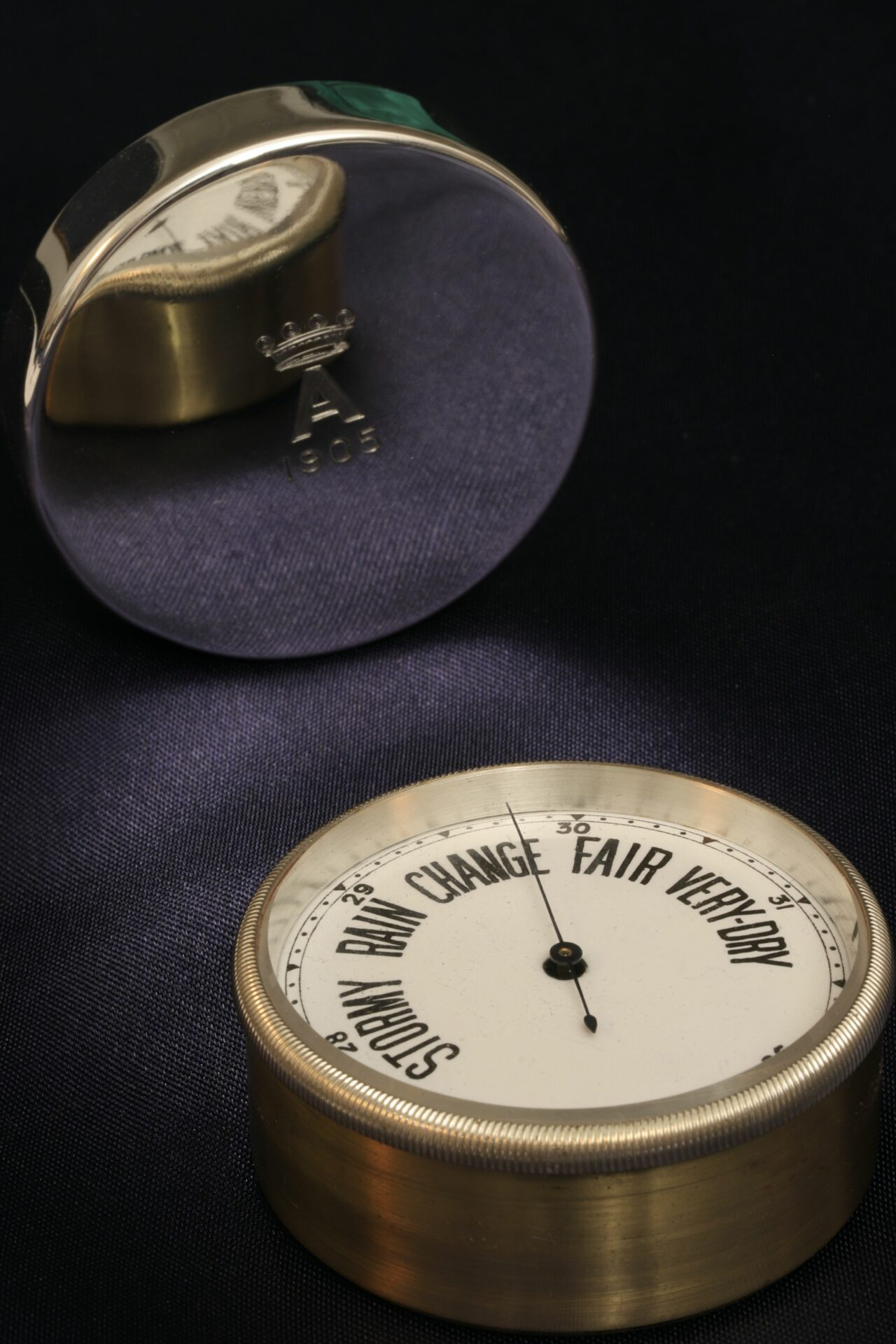 Image of lid showing monogram and barometer dial of Silver Travel Barometer by Gourdel Vales c1900