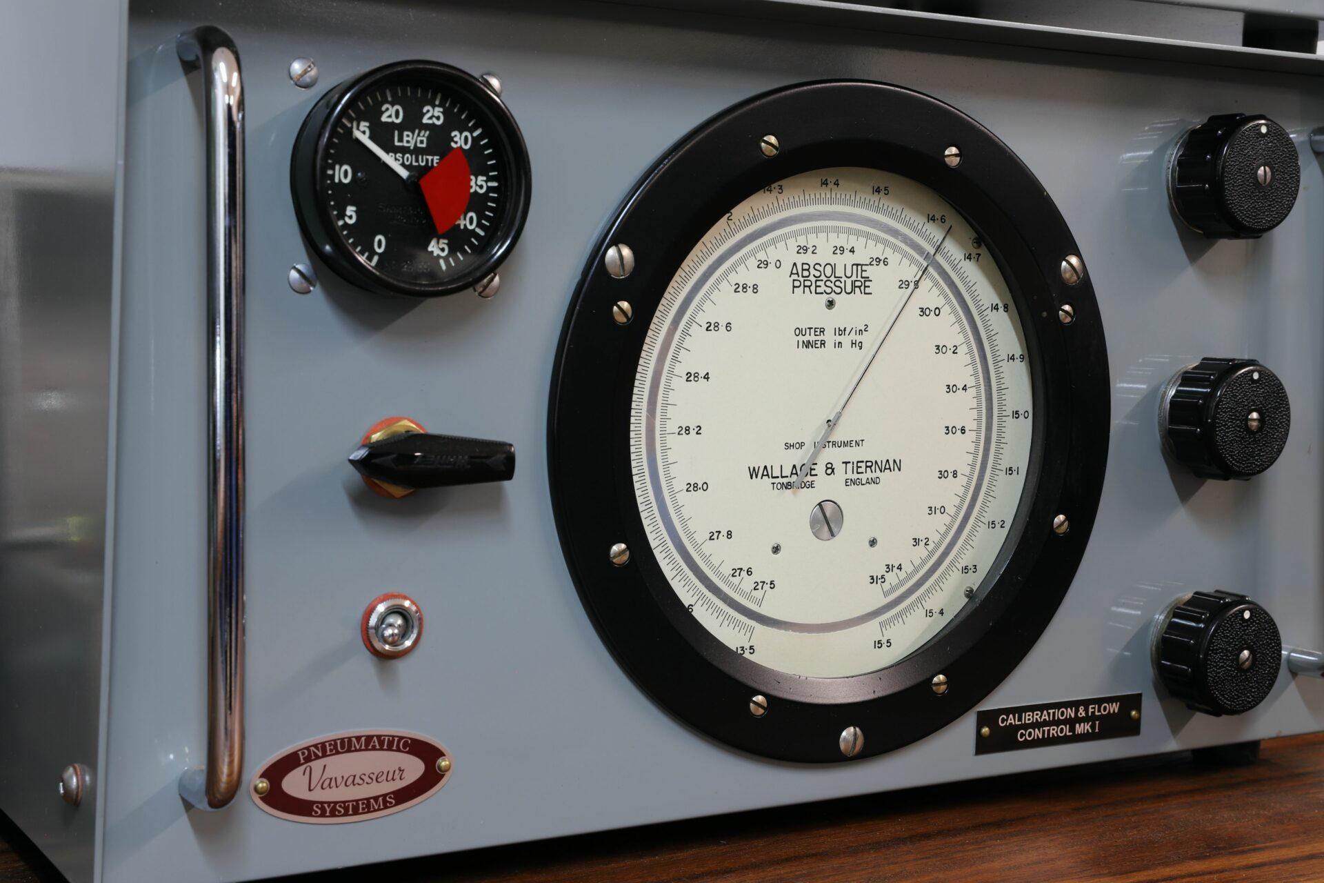 Close up of Vavasseur Laboratory Test Equipment Calibration & Flow Control MK I unit