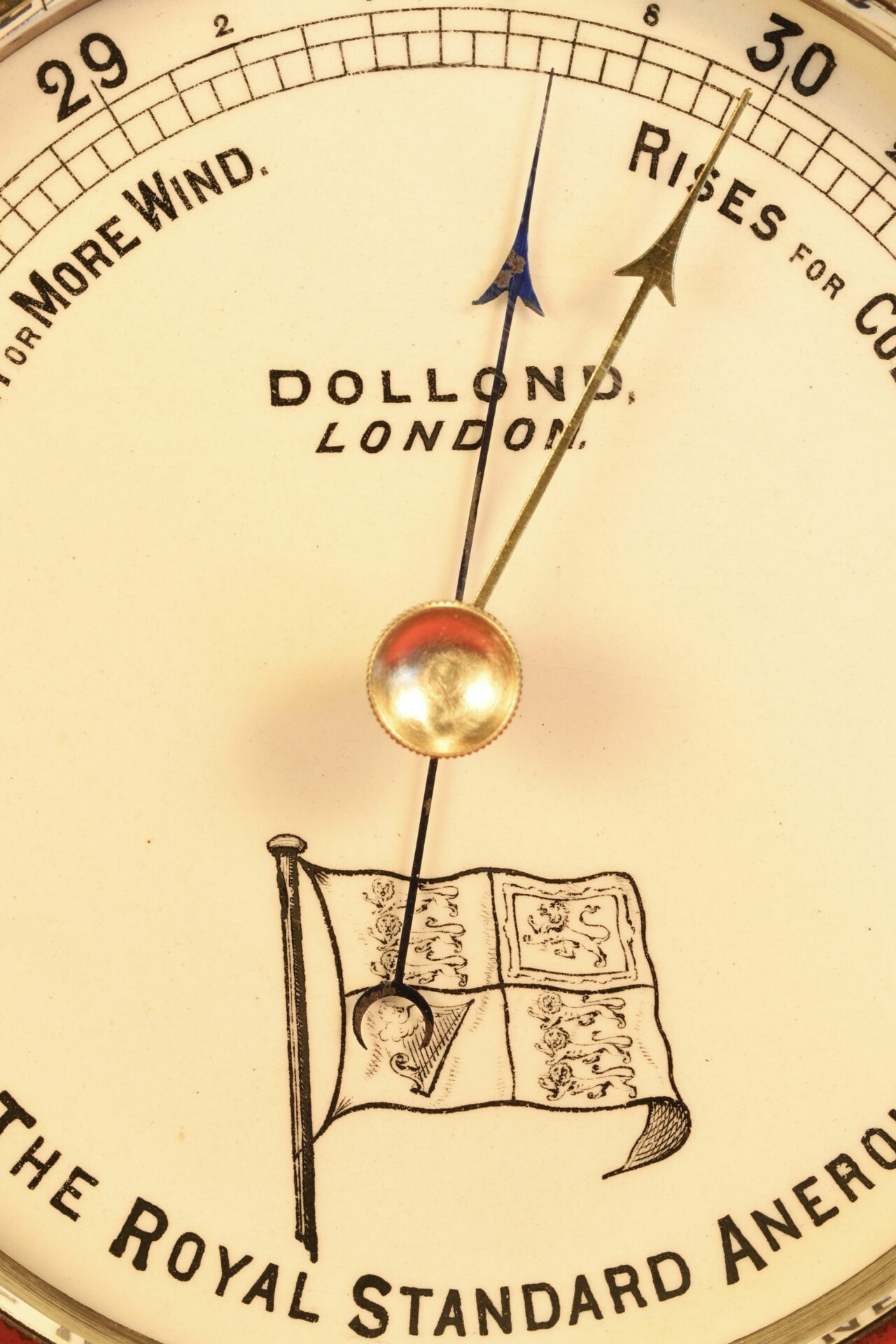 Close up of dial of Dollond Royal Standard Marine Barometer c1880