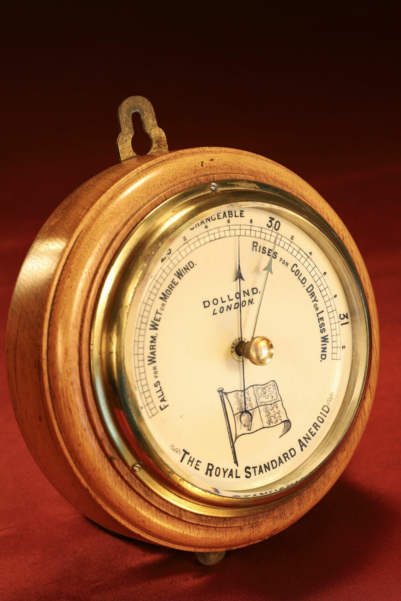 Image of Dollond Royal Standard Marine Barometer c1880 taken from lefthand side