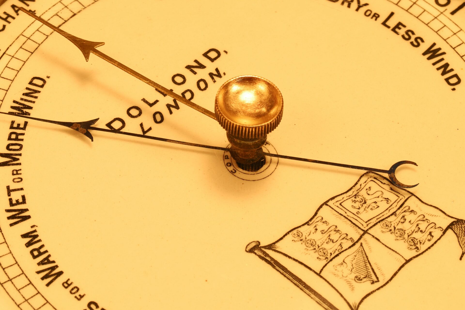 Close up of dial of Dollond Royal Standard Marine Barometer c1880 taken from lefthand side
