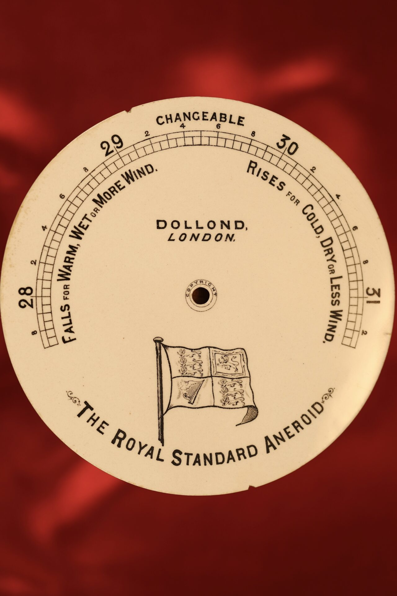 Image of dial alone for Dollond Royal Standard Marine Barometer c1880