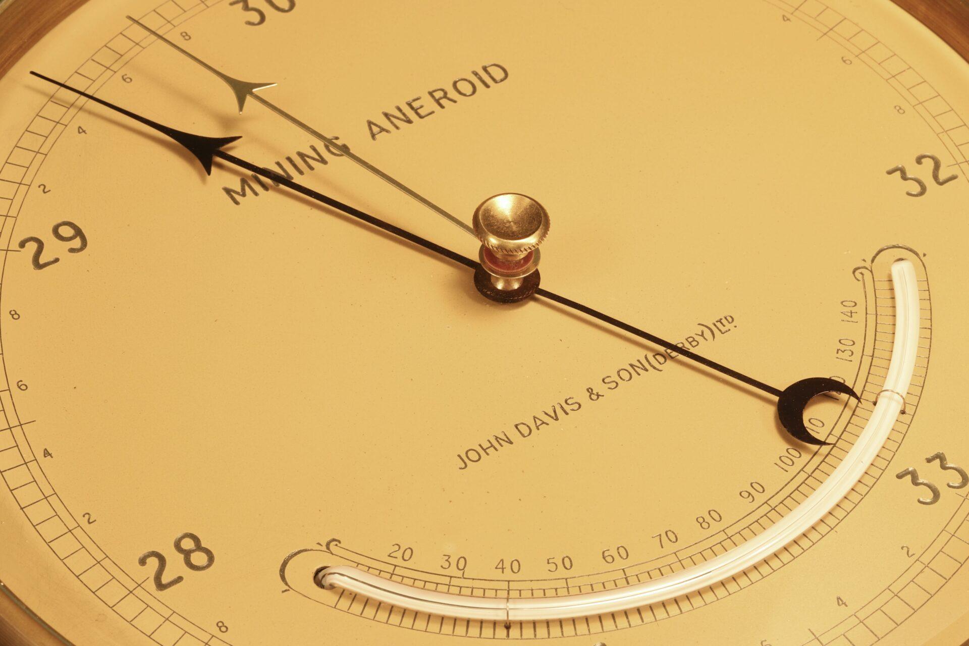 Close up of dial of Negretti & Zambra Mining Barometer for John Davis & Son