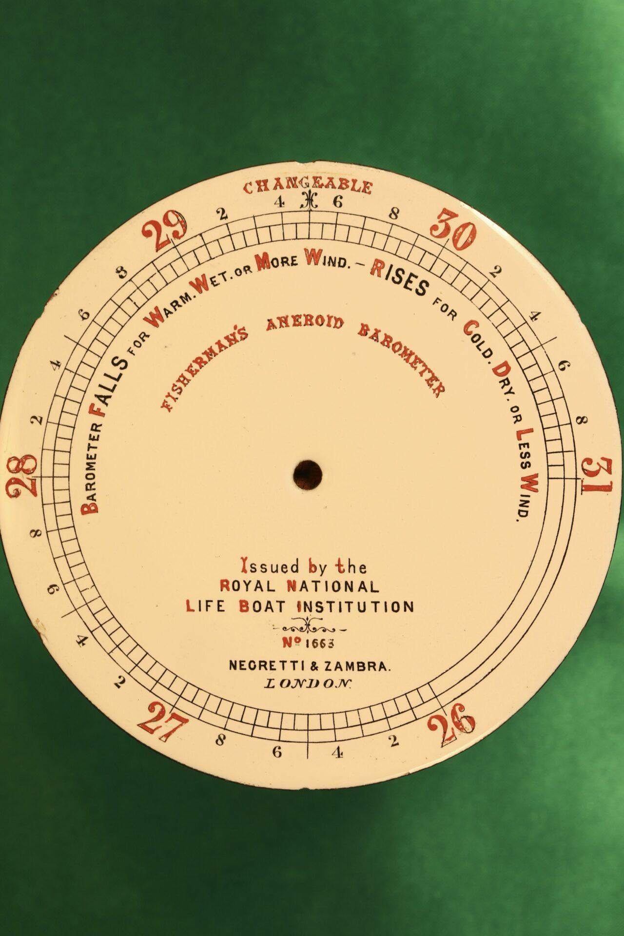 Image of dial from Negretti & Zambra RNLI Fishermans Aneroid Barometer No 1663