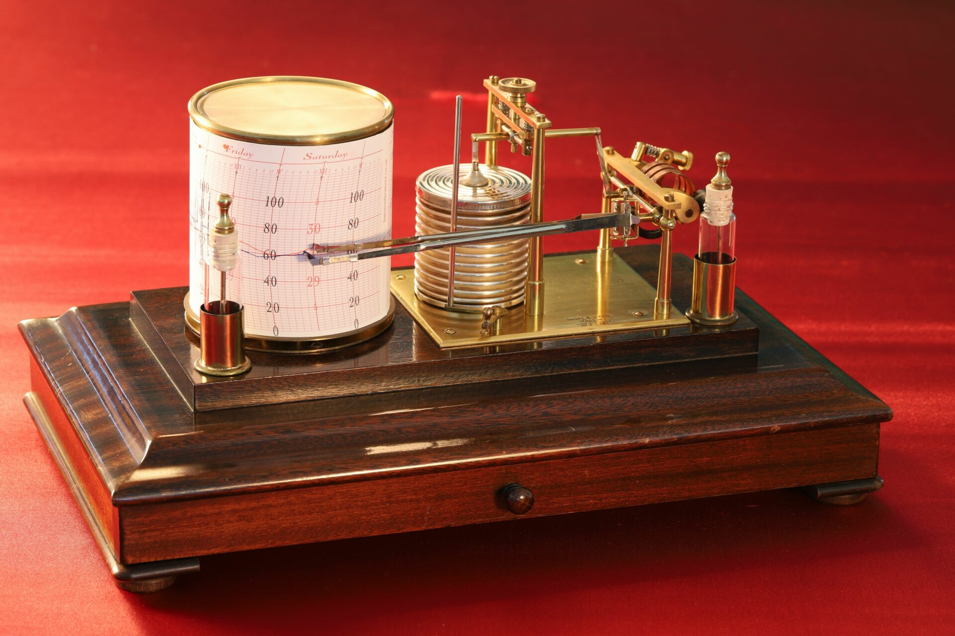Image of Short & Mason Barothermograph No A 8366 taken from left hand side with lid removed
