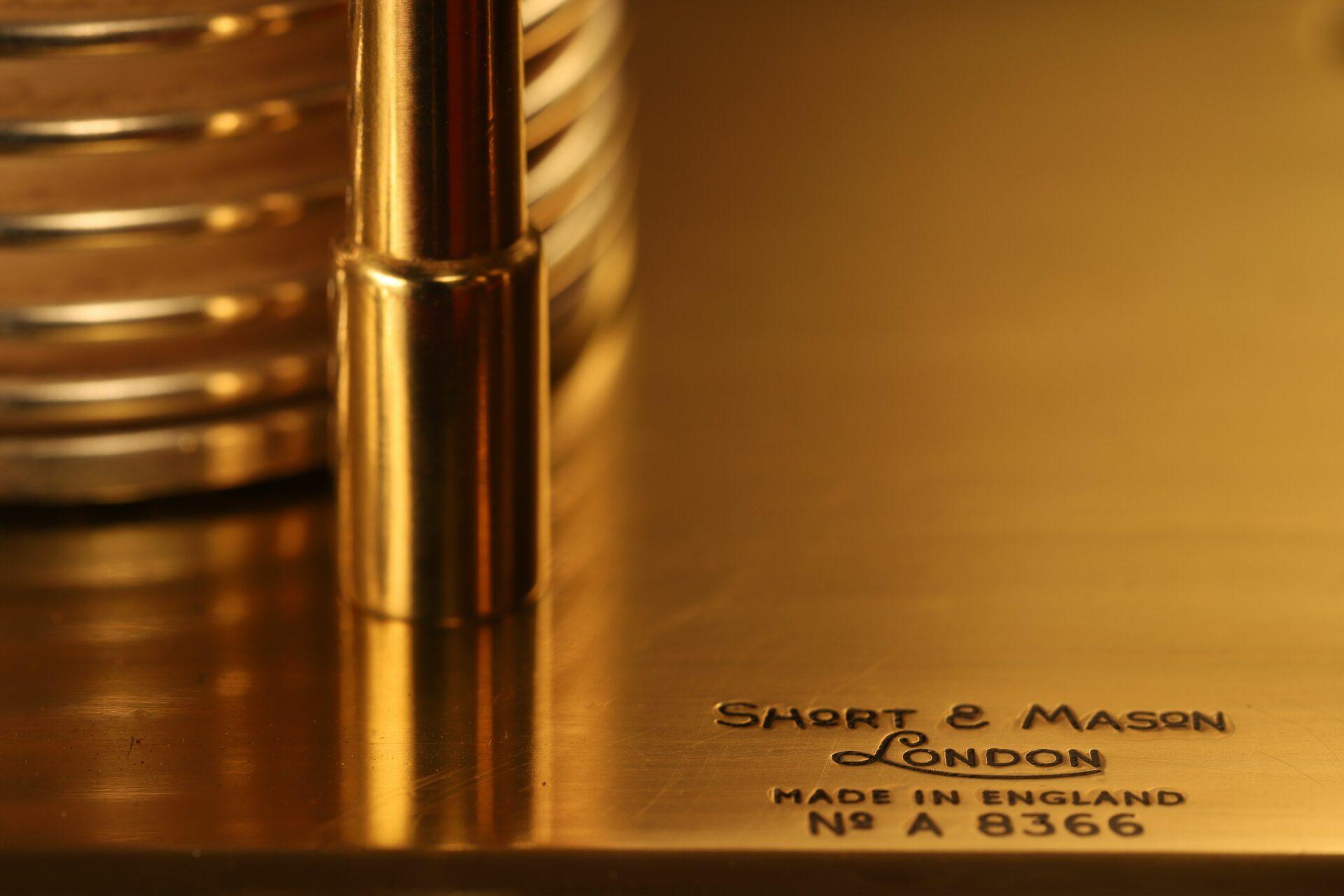 Close up of maker's details for Short & Mason Barothermograph No A 8366