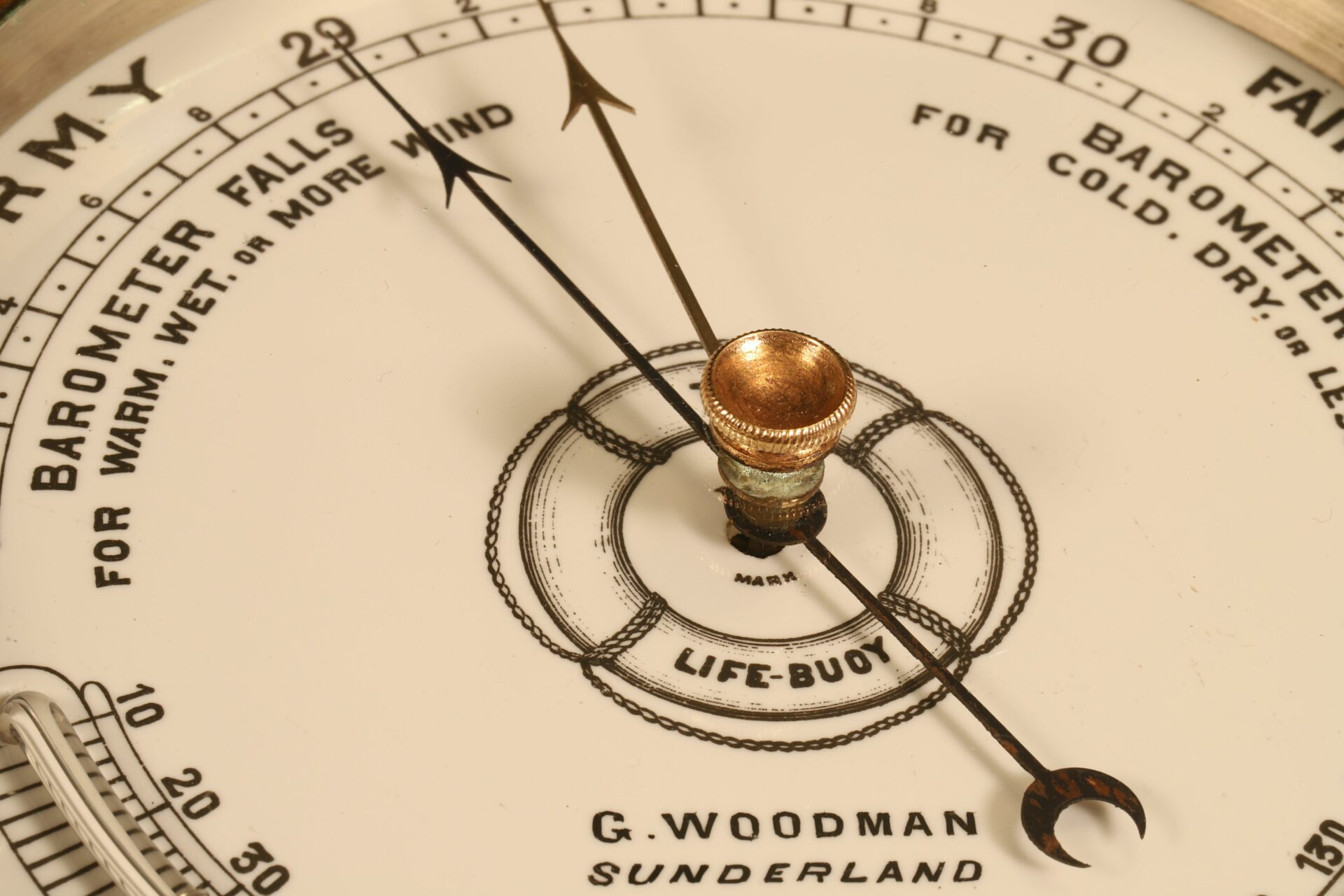 Close up of dial of The Life-Buoy Barometer by Dollond c1885