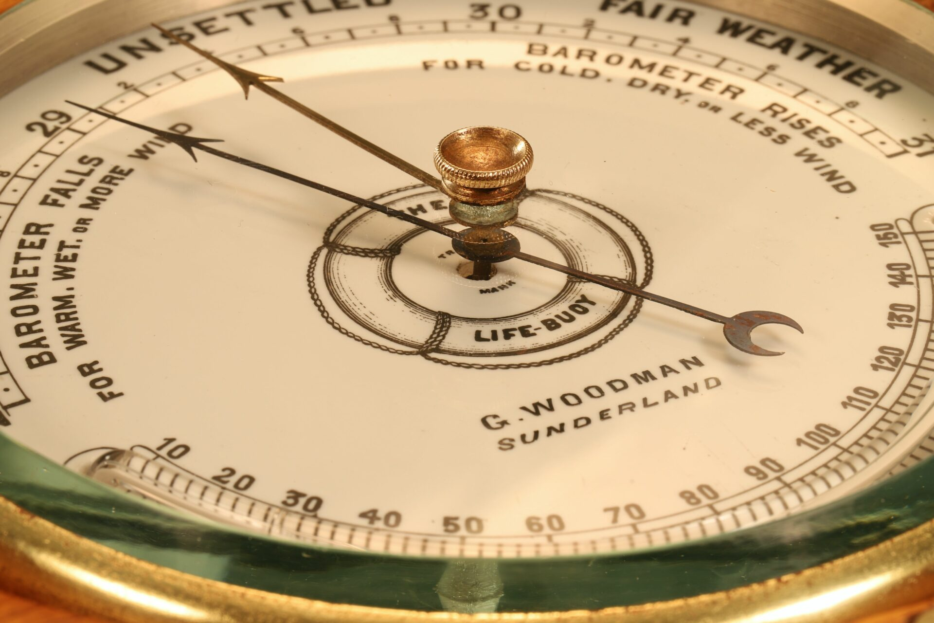 Image of dial of The Life-Buoy Barometer by Dollond c1885