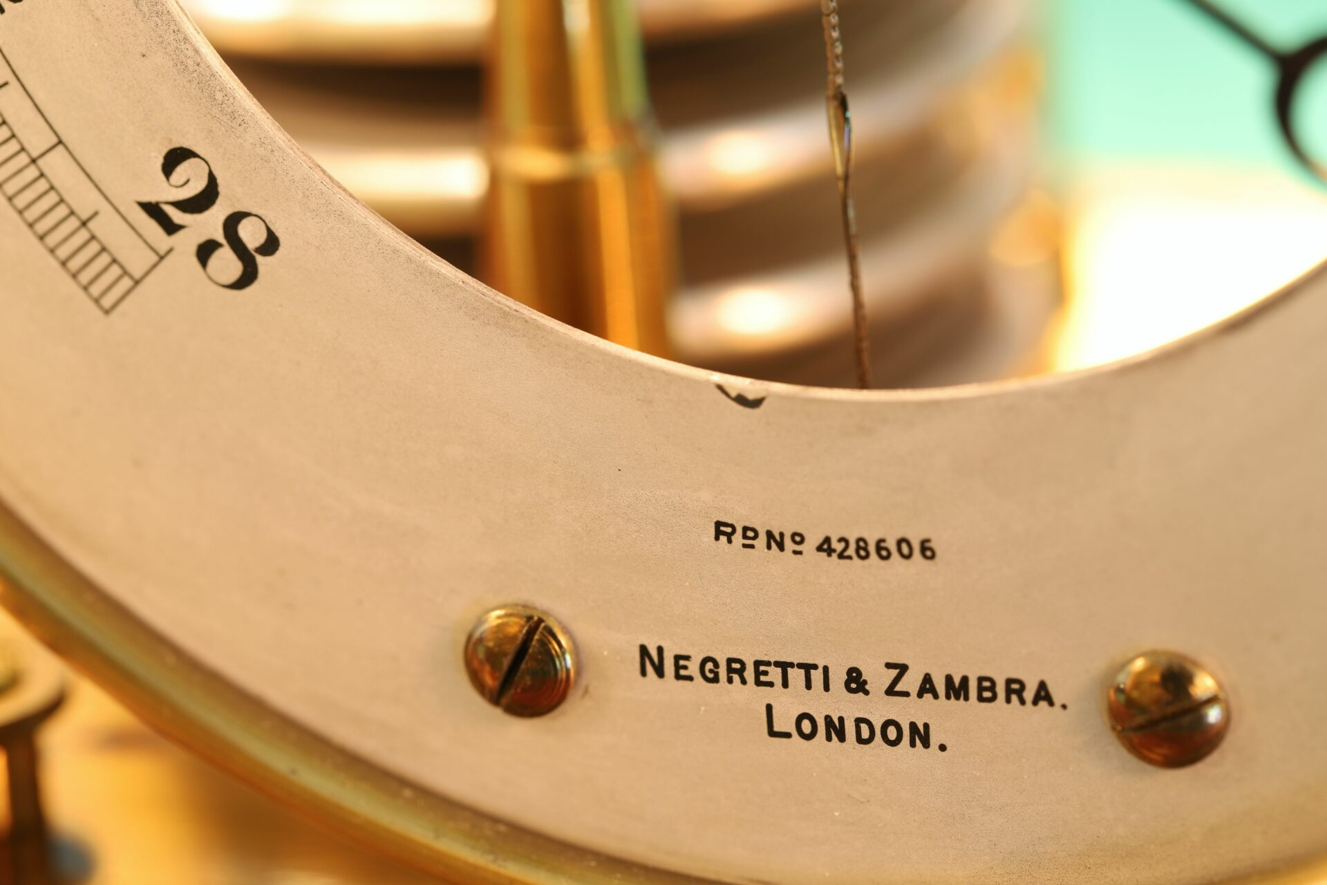 Close up of bottom of dial of Negretti & Zambra Barograph with Dial No 455 c1918