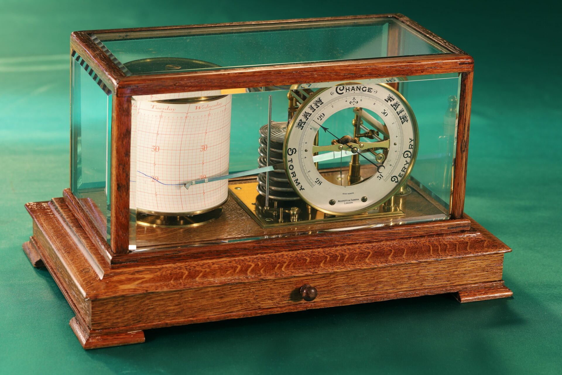 Image of Negretti & Zambra Barograph with Dial No 455 c1918 taken from front left
