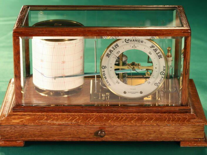 DRUM BAROGRAPH AND BAROMETER BY NEGRETTI & ZAMBRA No 455 c1918 - Sold
