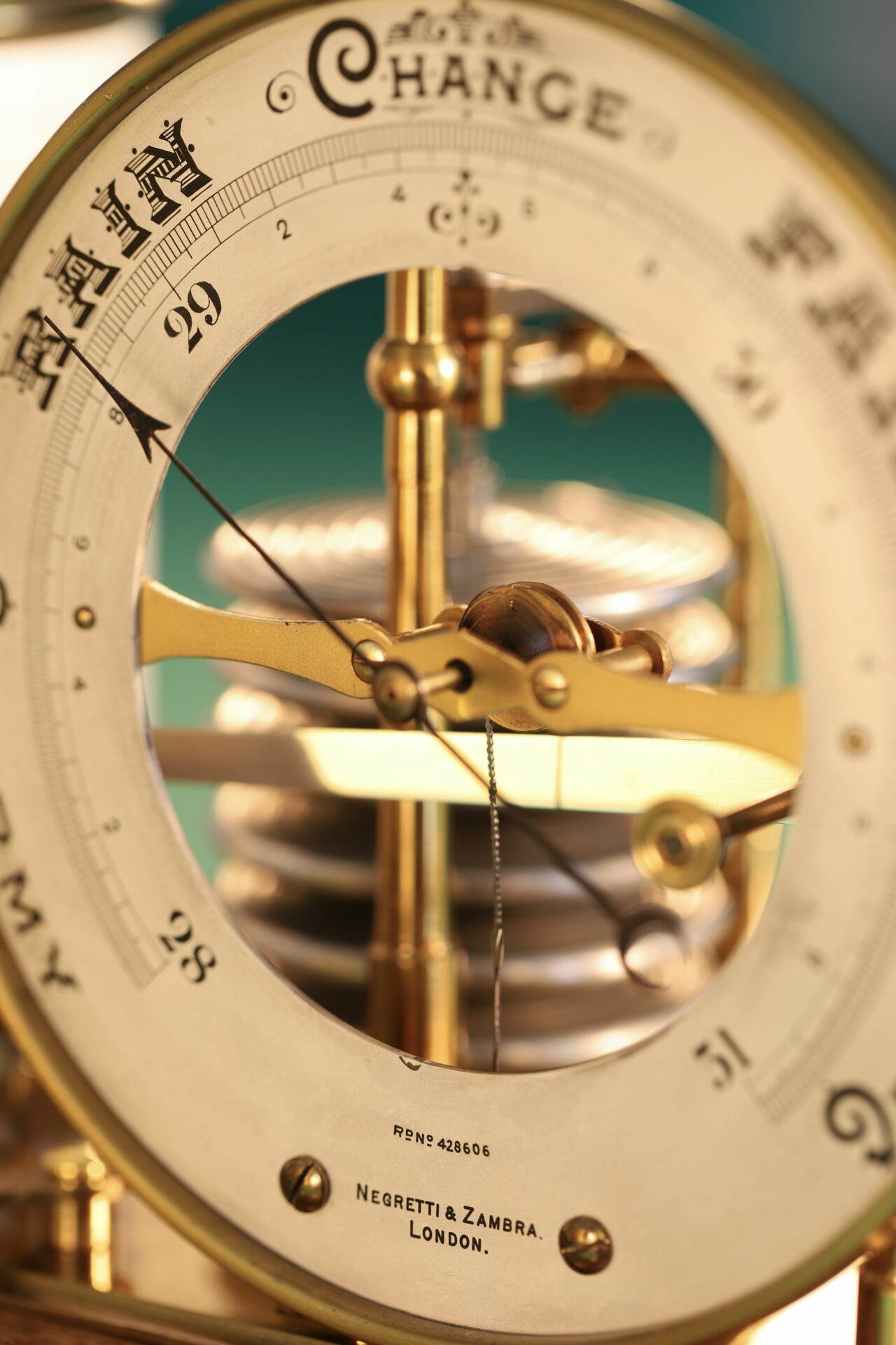 Close up of dial of Negretti & Zambra Barograph with Dial No 455 c1918