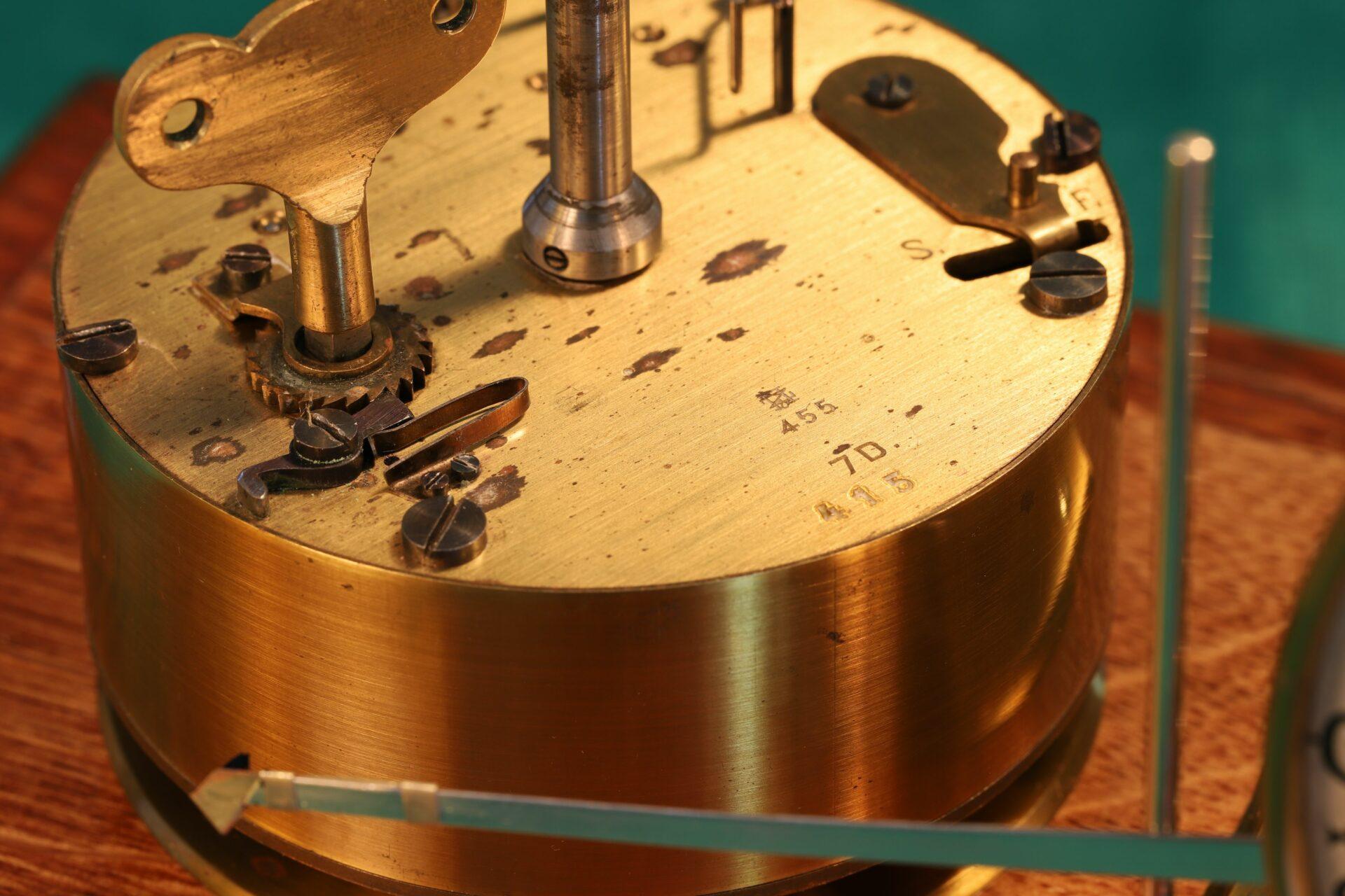 Close up of clockwork mechanism of Negretti & Zambra Barograph with Dial No 455 c1918