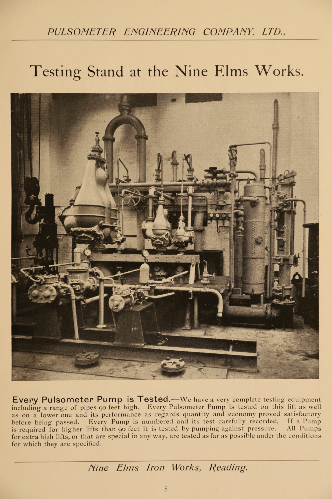 Image of page 5 from Pulsometer Steam Pumps Catalogue 1908 showing testing stand