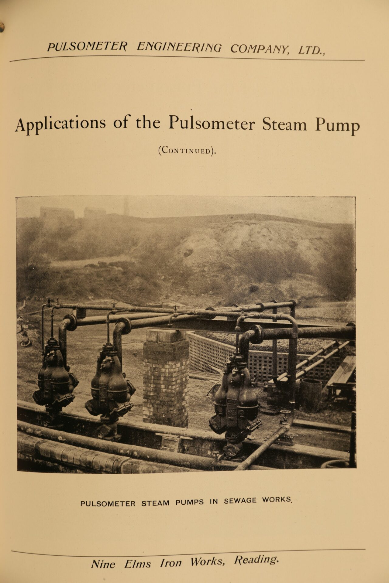 Image of page 43 from Pulsometer Steam Pumps Catalogue 1908 showing pumps at work in a sewage works