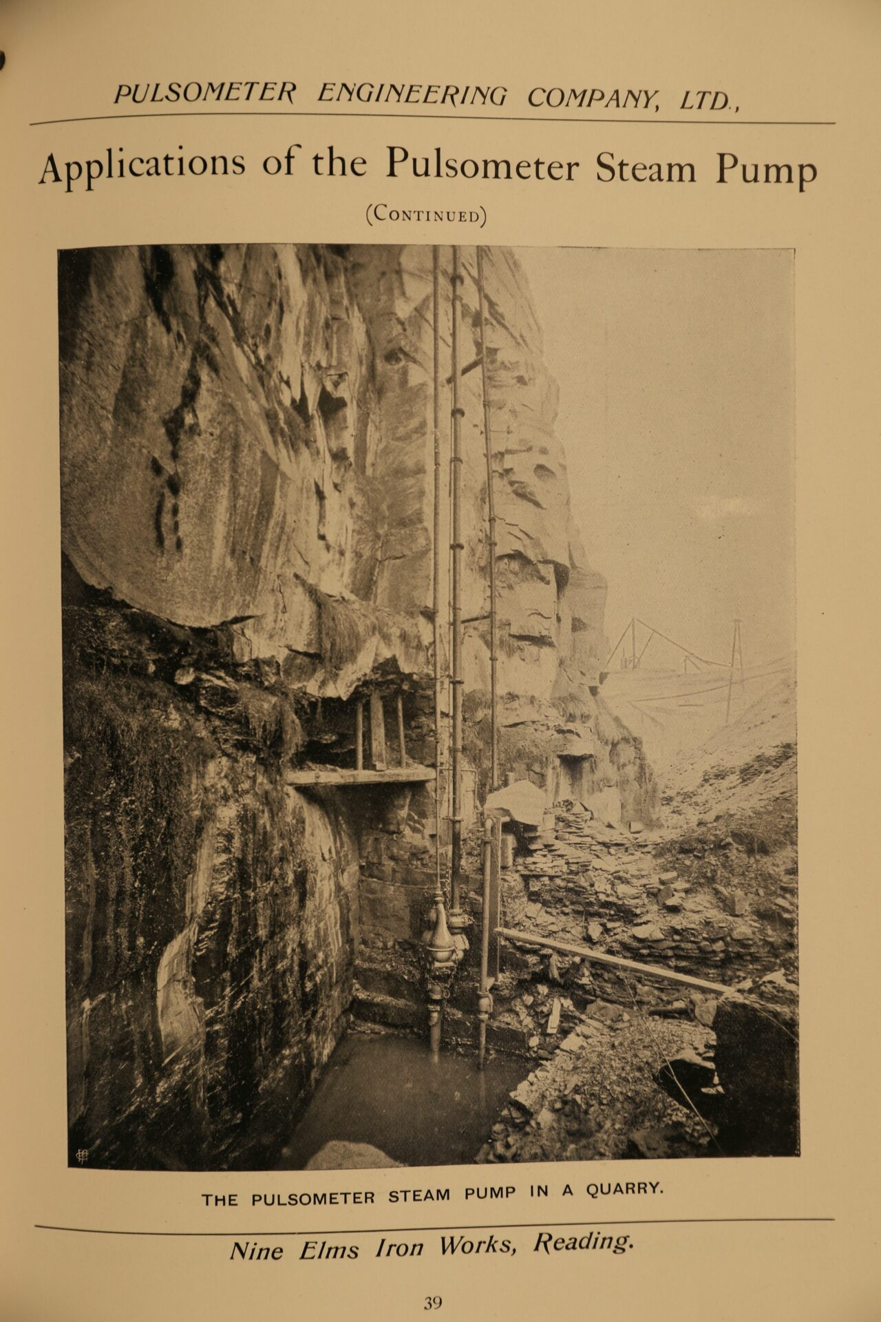 Image of page 39 from Pulsometer Steam Pumps Catalogue 1908 showing pump at work in a quarry