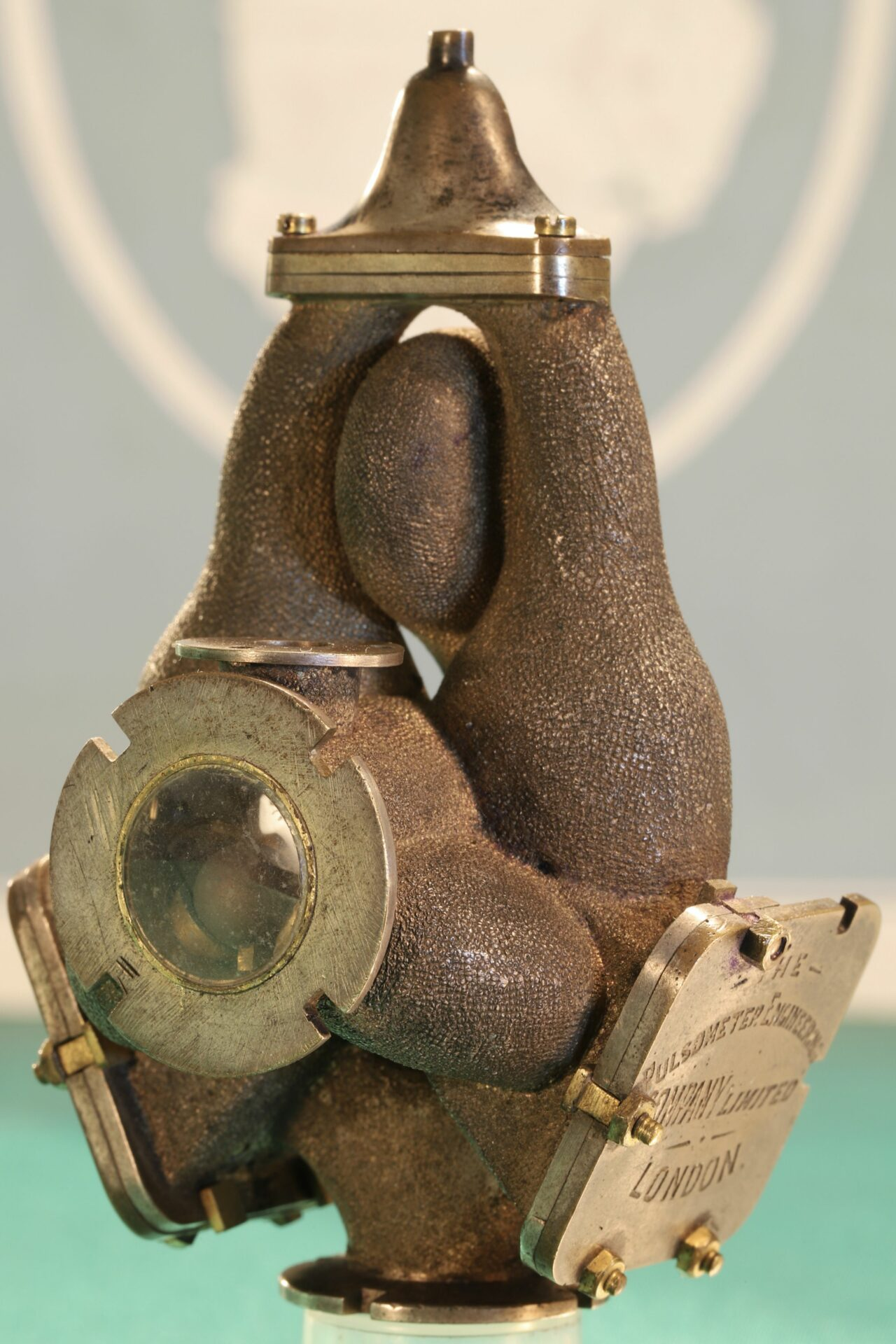 Image of front of Pulsometer Steam Pump Model c1905 taken from righthand side