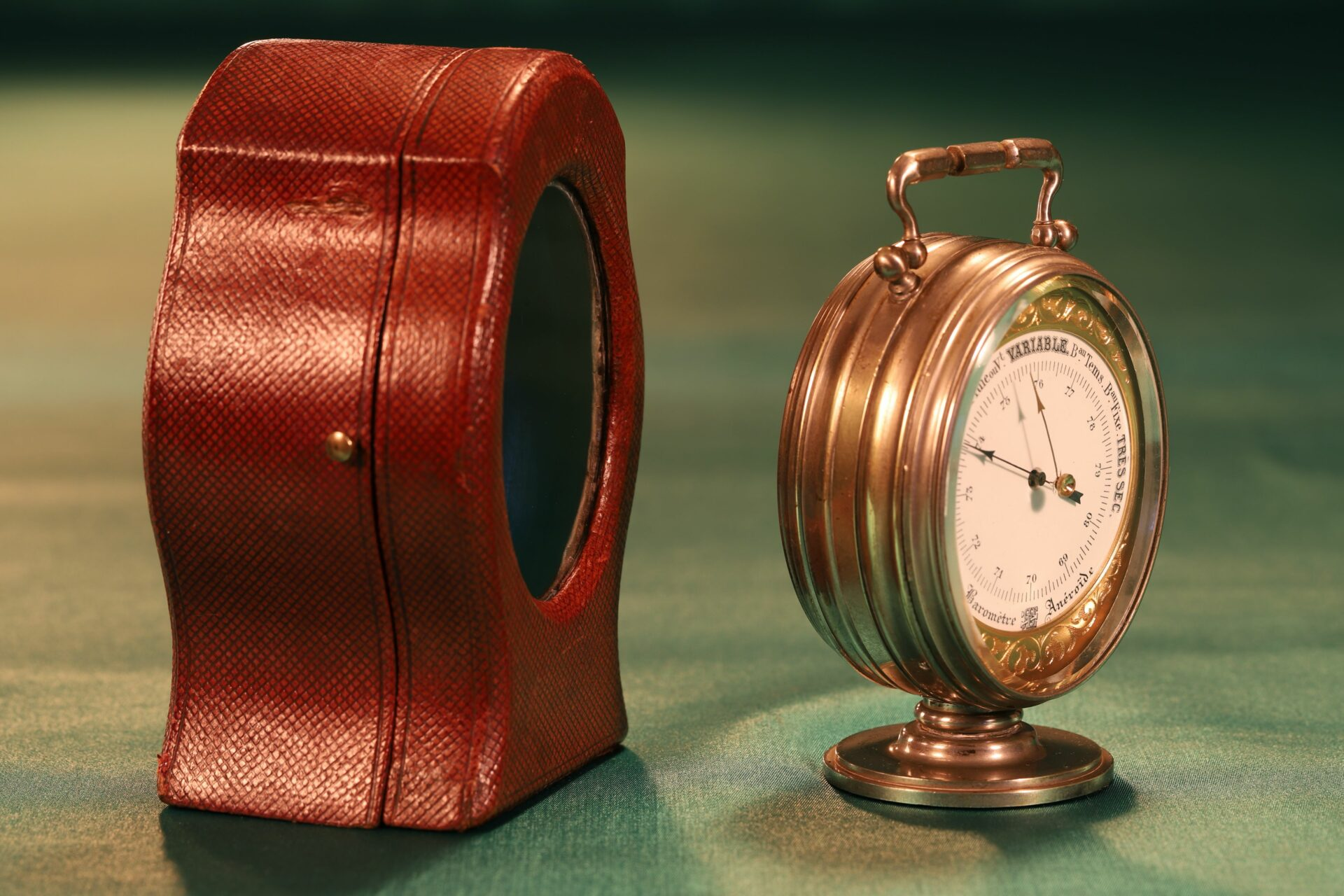 Image of Redier Travel Compendium showing the Barometer and the Original Travel Case taken from the left c1880