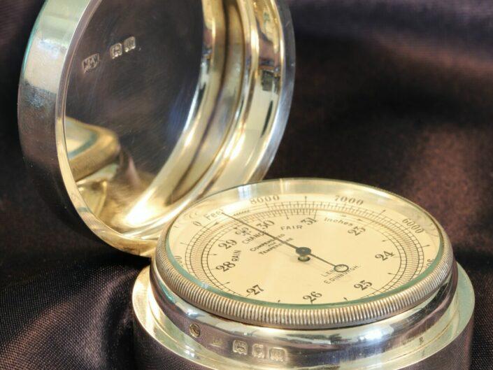NEGRETTI & ZAMBRA POCKET BAROMETER IN SILVER CASE BY MAPPIN & WEBB c1927 - Reserved
