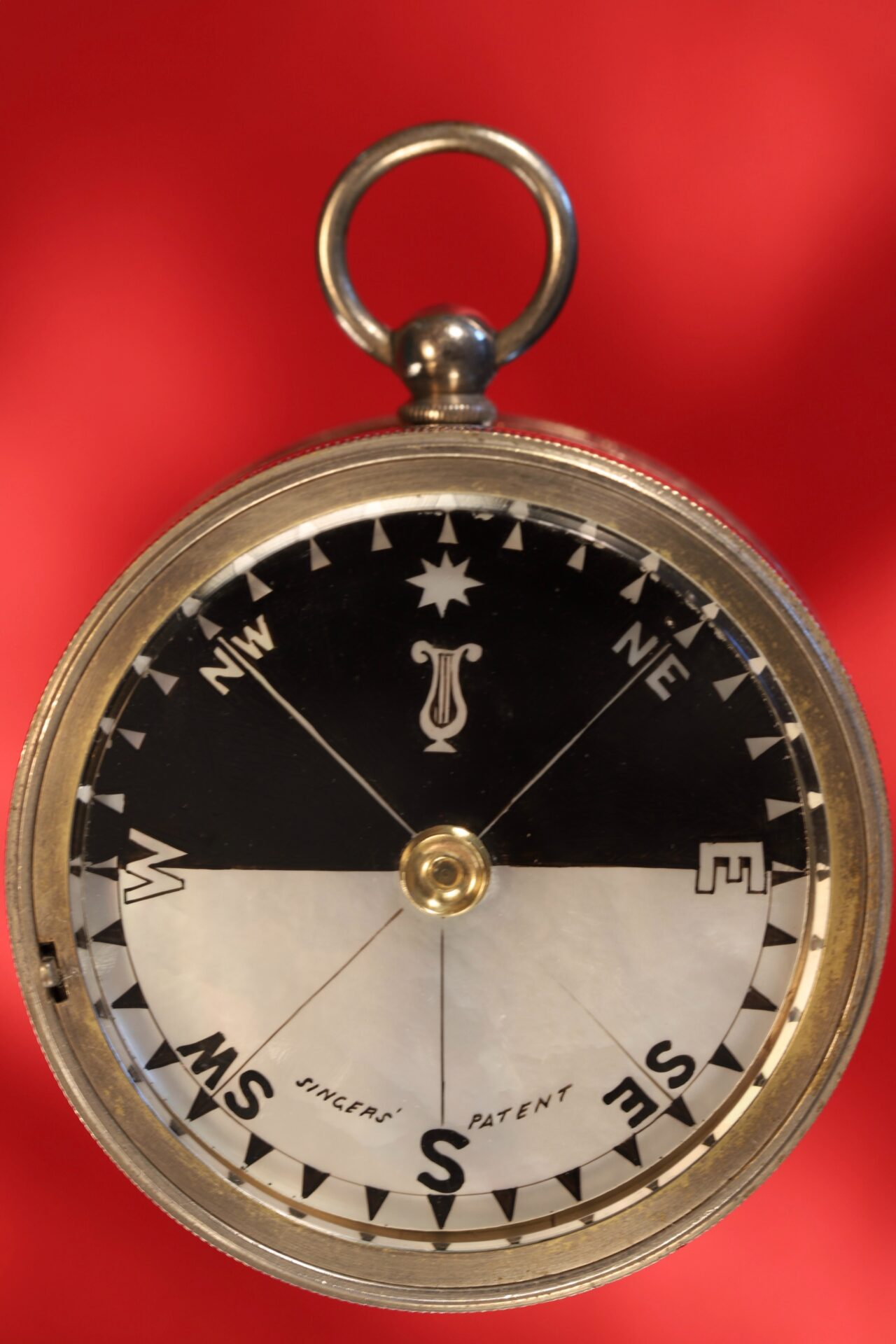 Image of Army & Navy COSL Pocket Barometer Compendium c1880 showing compass