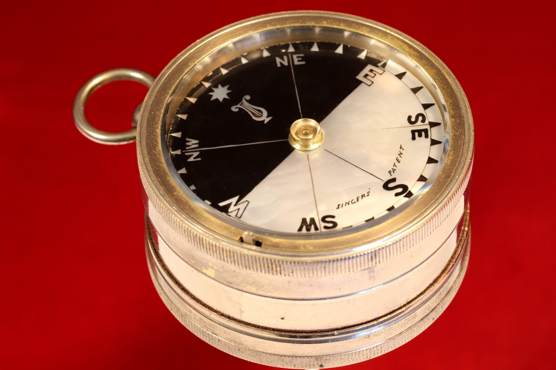Image of Army & Navy COSL Pocket Barometer Compendium c1880 showing compass from side