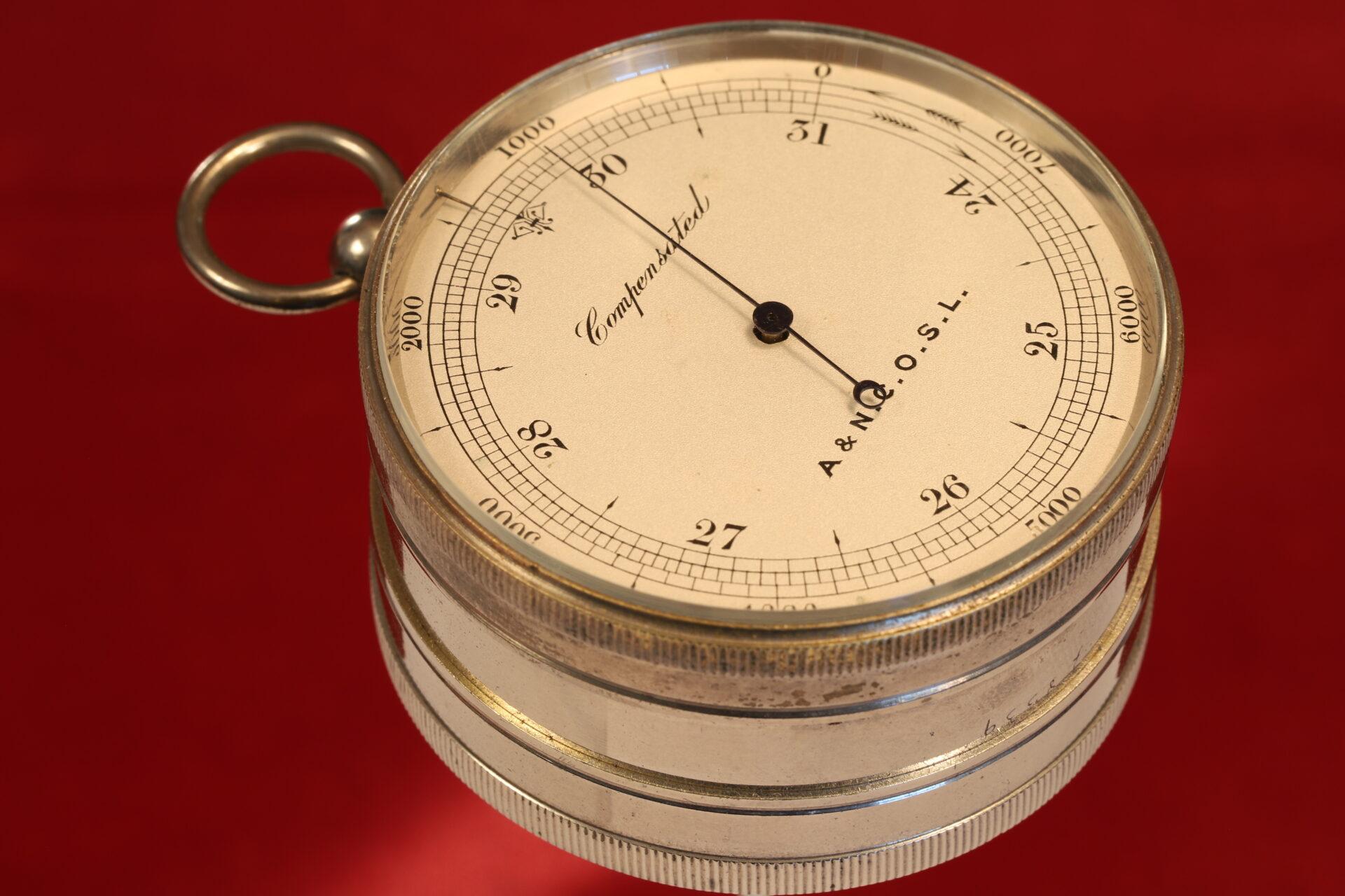 Image of Army & Navy COSL Pocket Barometer Compendium c1880 showing pocket barometer from side