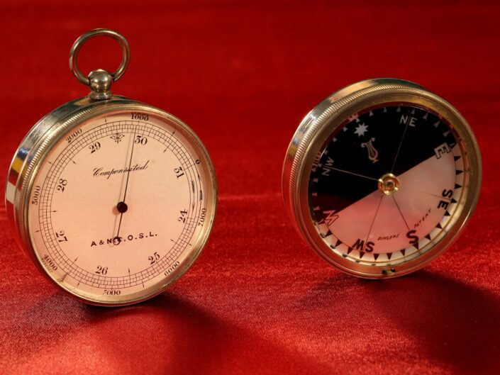 NICKEL PLATED POCKET BAROMETER COMPASS COMPENDIUM RETAILED BY ARMY & NAVY COSL c1880