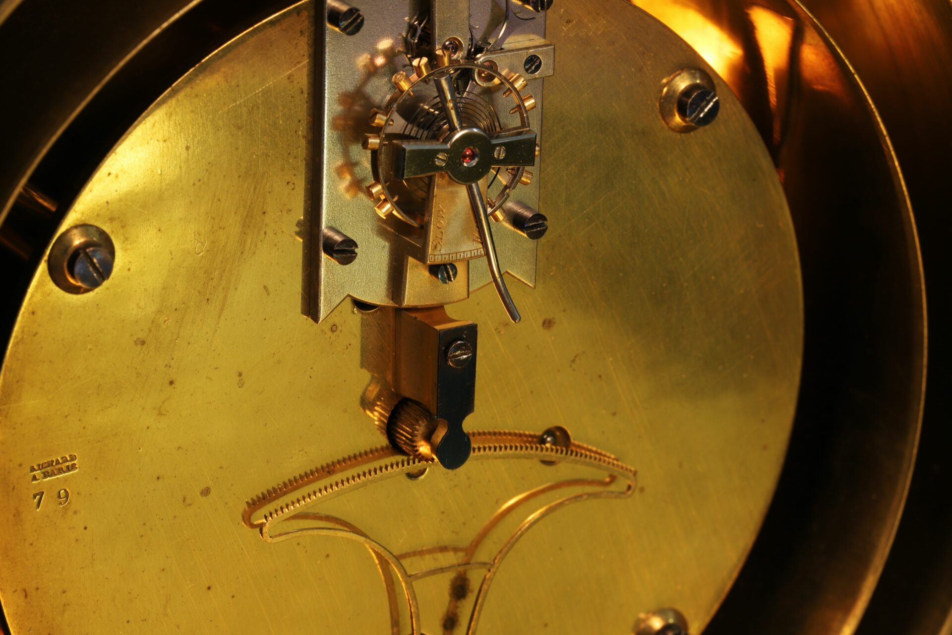 Close up of rear of Bourdon & Richard Barometer Clock No 79 c1880 showing serial number of the Richard clock