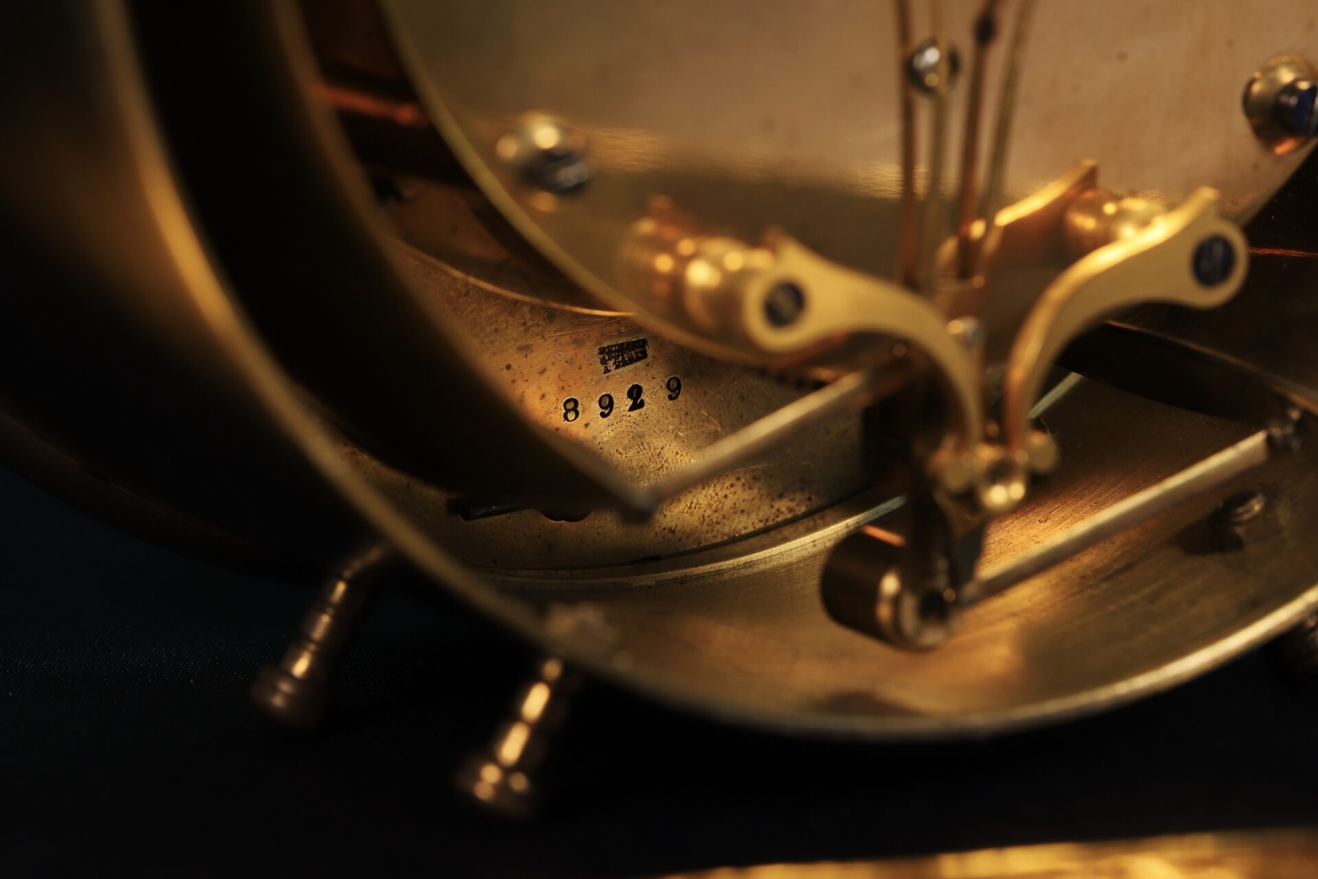 Close up of rear of Bourdon & Richard Barometer Clock No 79 c1880 showing serial number of the Bourdon movement