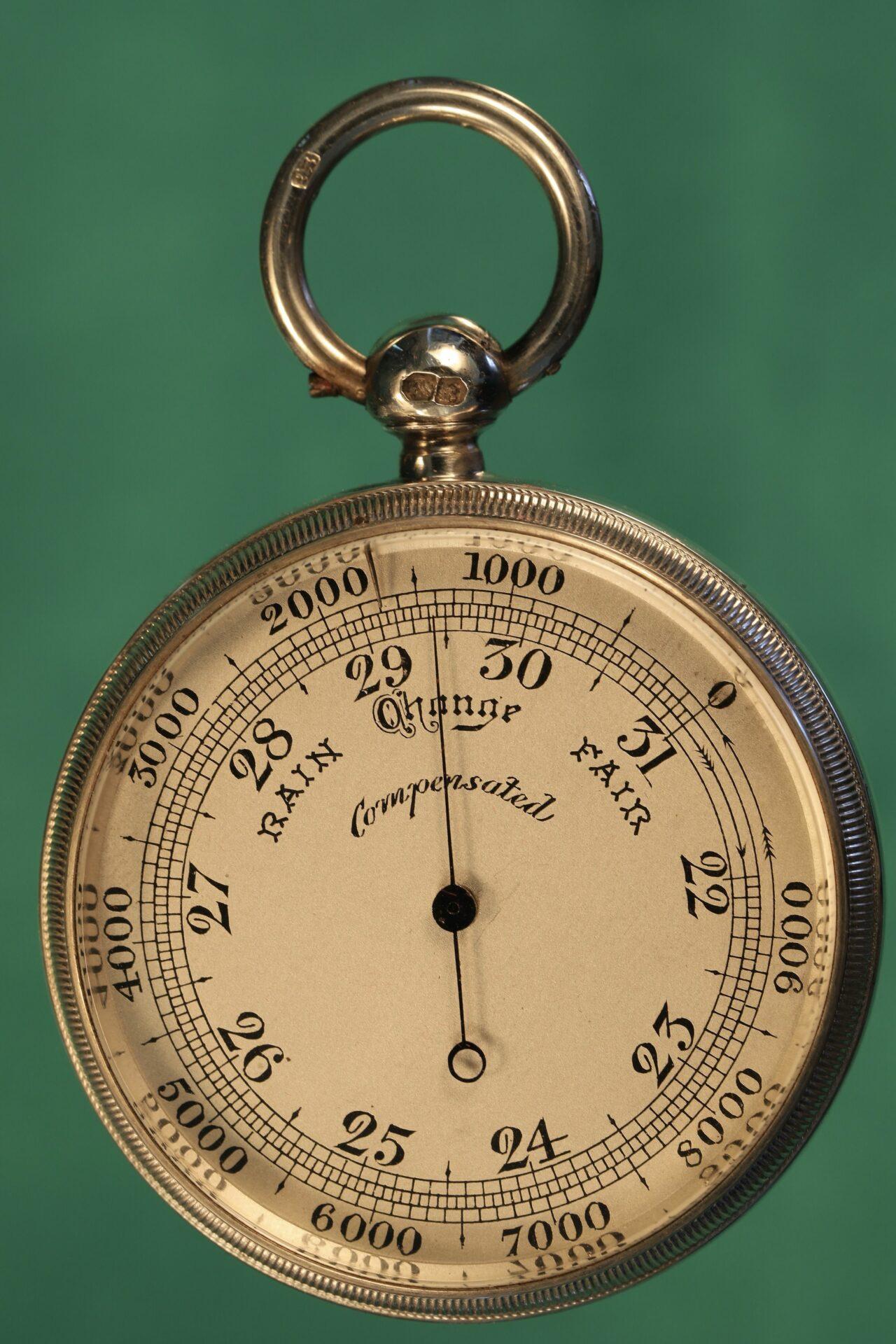 Image of pocket barometer from Cairns Silver Pocket Barometer Compendium c1892