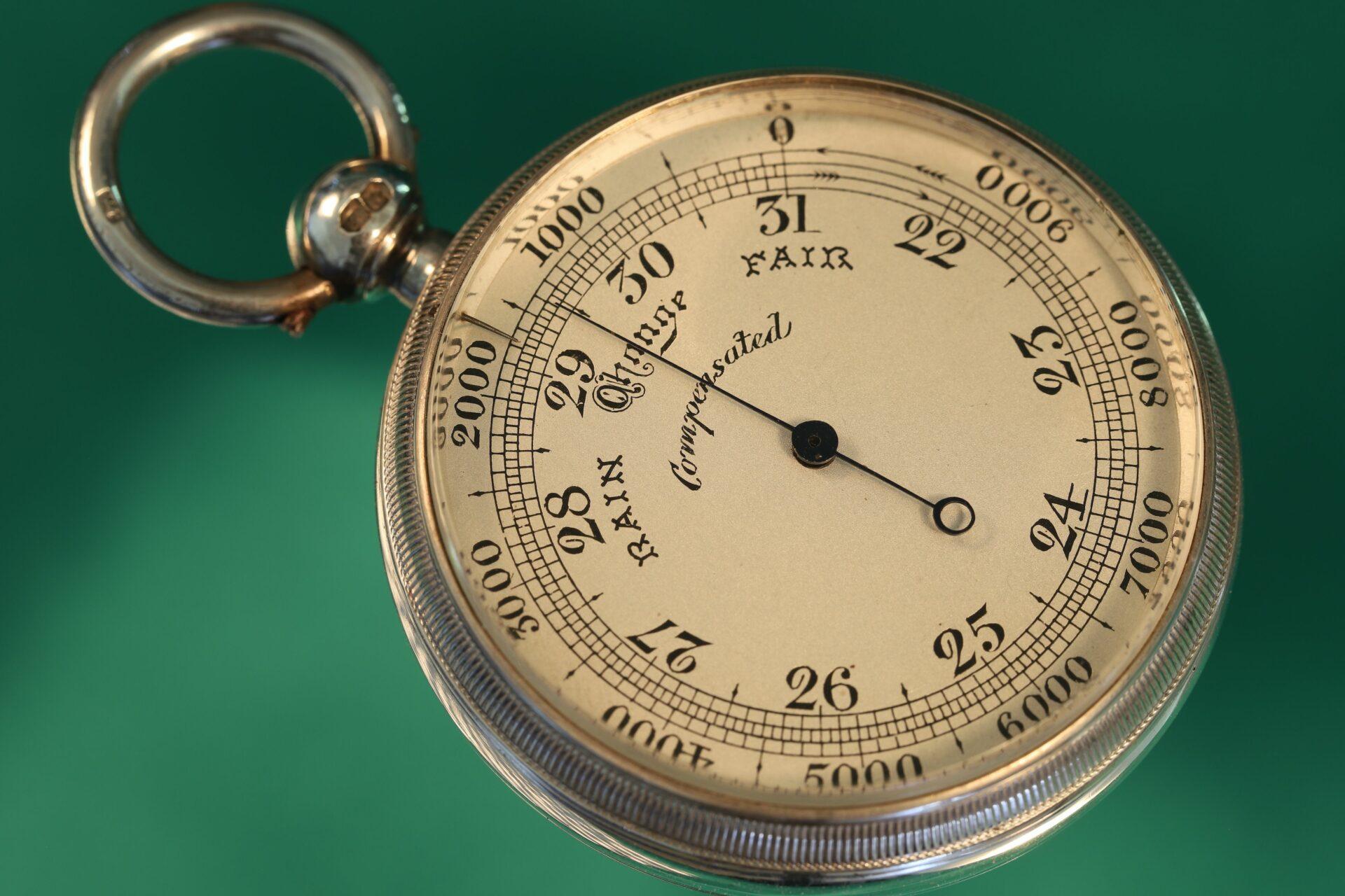 Horizontal image of pocket barometer from Cairns Silver Pocket Barometer Compendium c1892