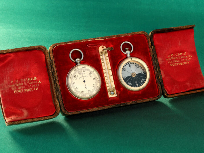 SILVER POCKET BAROMETER COMPENDIUM RETAILED BY CAIRNS c1892