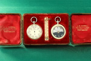 Image of open case from Cairns Silver Pocket Barometer Compendium c1892 showing the retailer's details and the pocket barometer, thermometer and compass