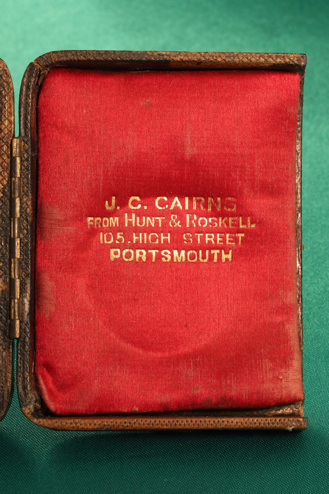 Image of inside right flap of case from Cairns Silver Pocket Barometer Compendium c1892