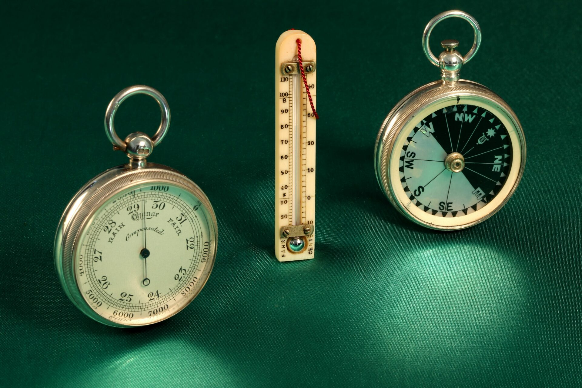 Image of pocket barometer, thermometer and compass from Cairns Silver Pocket Barometer Compendium c1892
