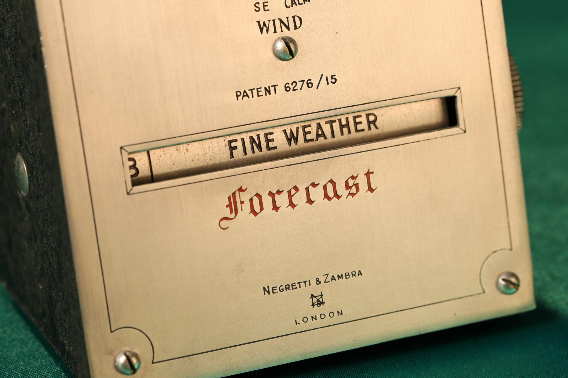 Close up of Negretti & Zambra Desk Forecaster c1915 Forecast window taken from lefthand side