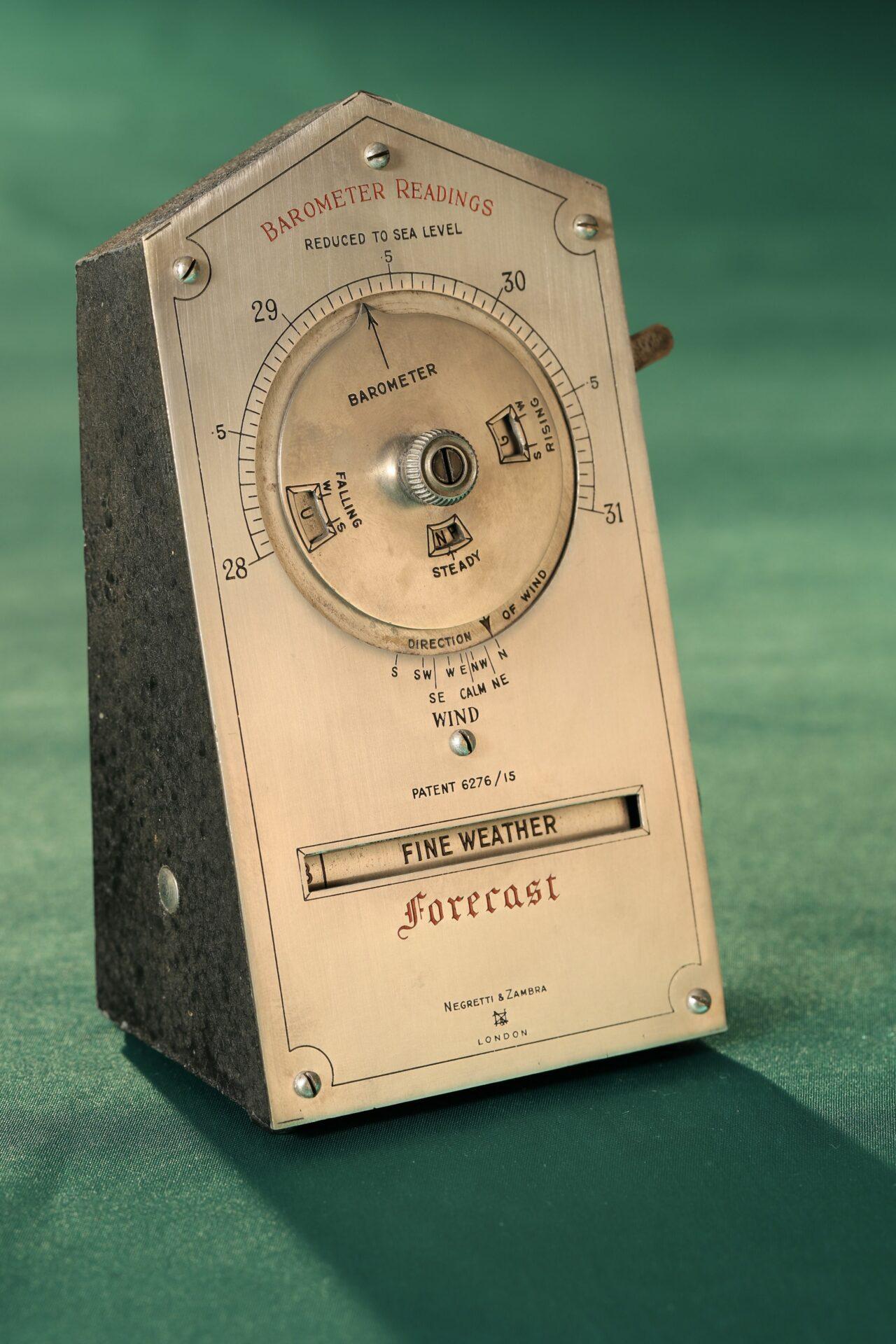 Front of Negretti & Zambra Desk Forecaster c1915 taken from lefthand side