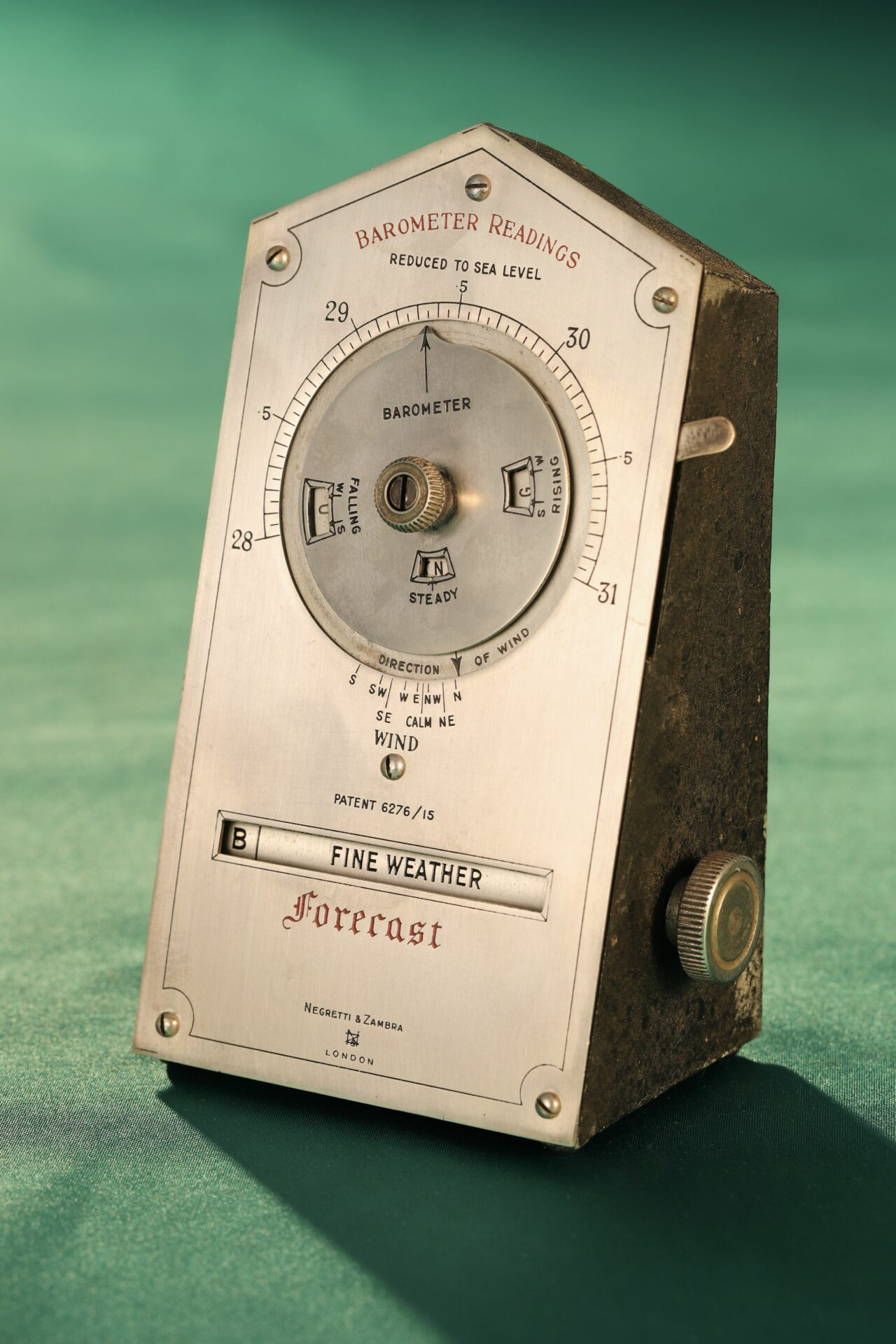 Front of Negretti & Zambra Desk Forecaster c1915 taken from righthand side
