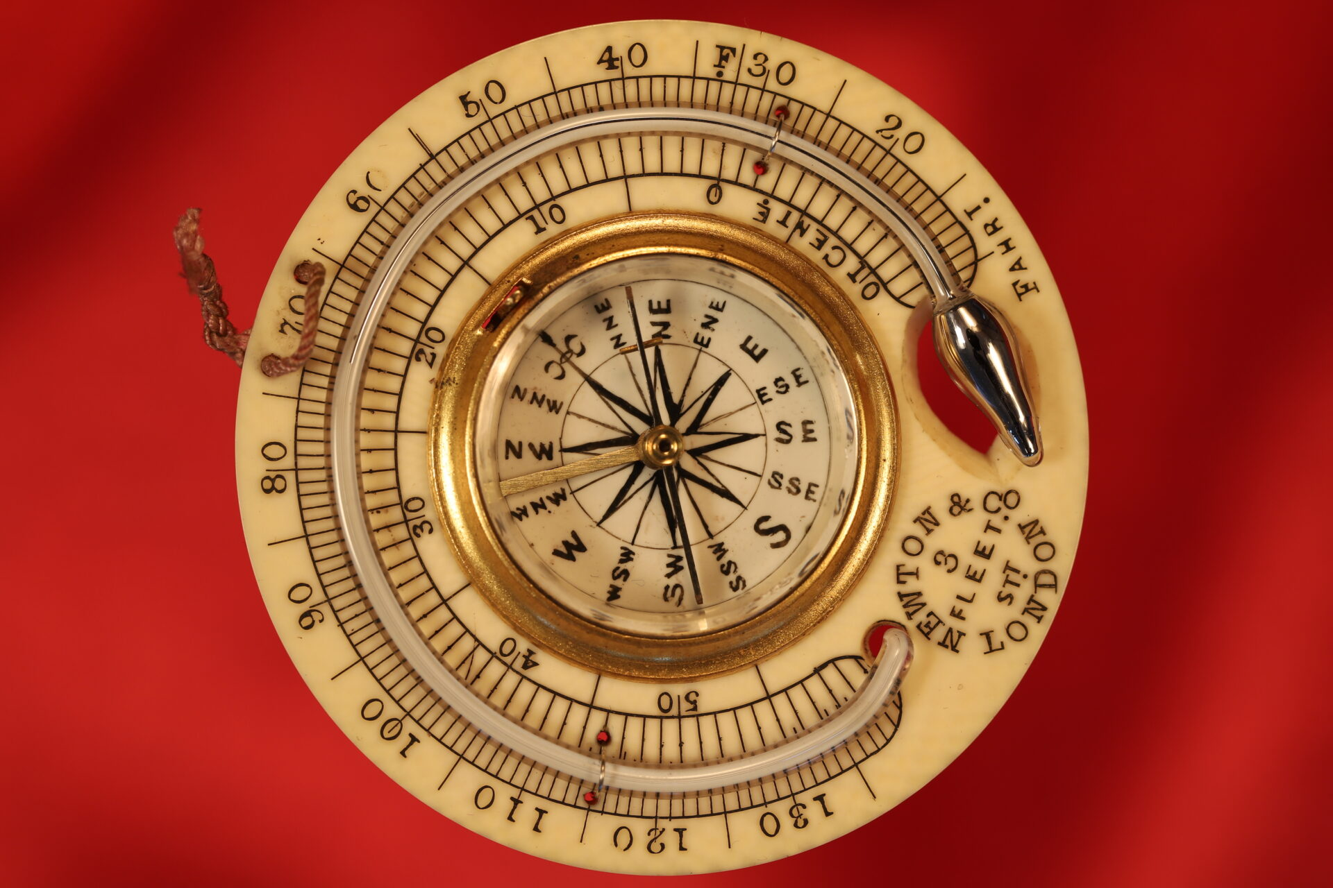 Image of compass and thermometer from Newton Pocket Barometer No 1082