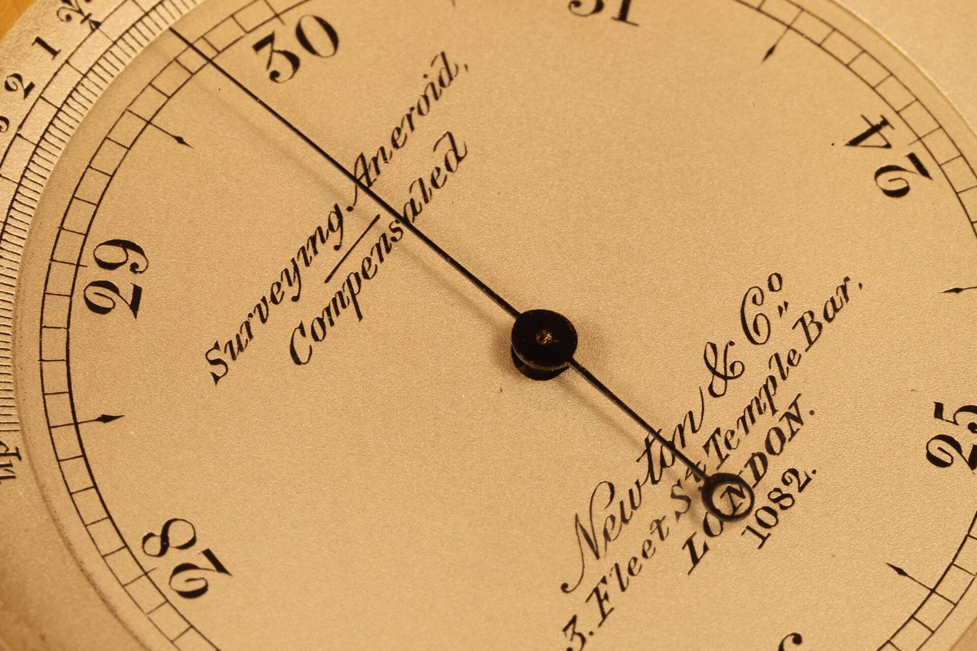 Close up of dial of Newton Pocket Barometer No 1082