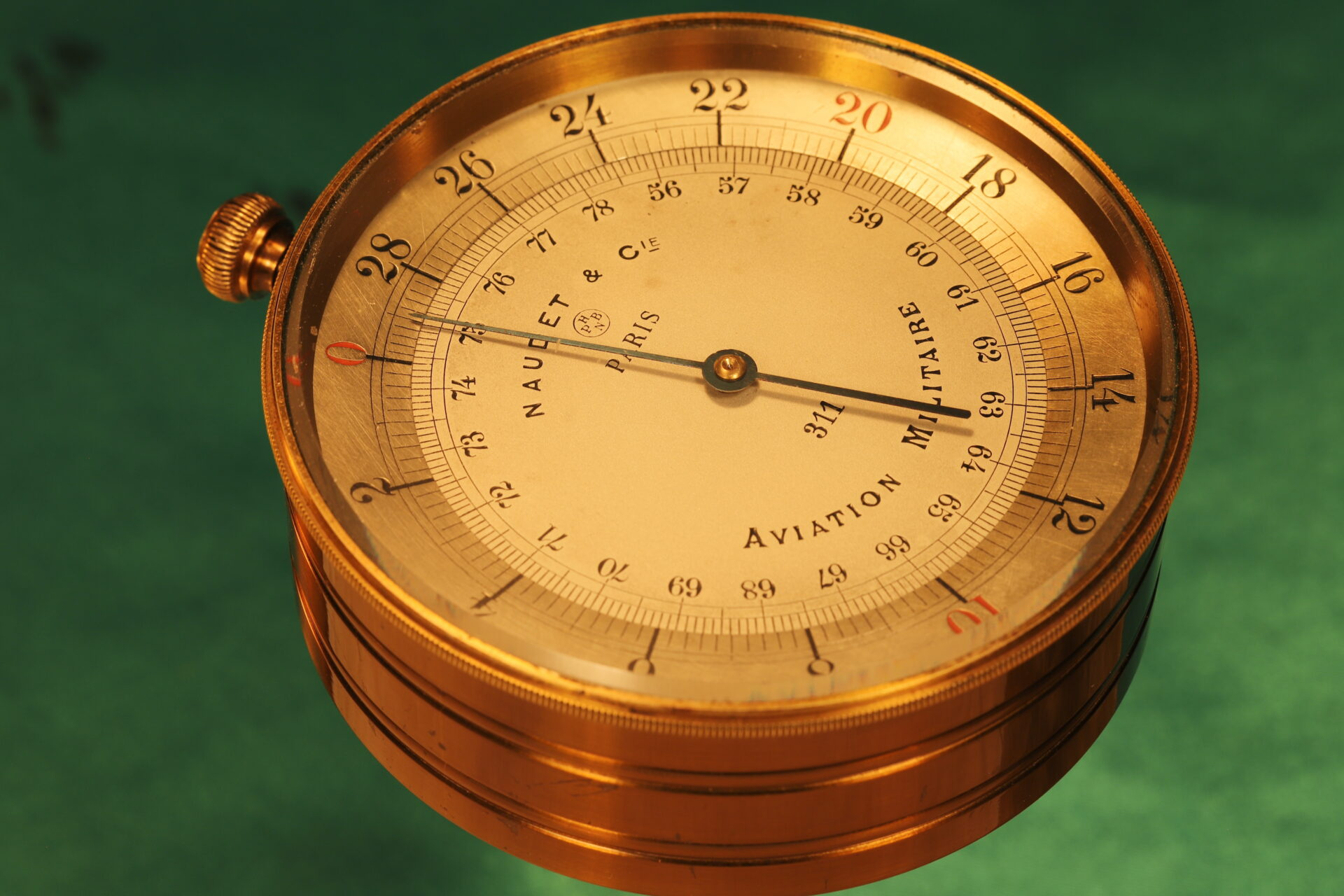 Image of Naudet WWI Aircraft Altimeter No 311 c1914 out of flight case