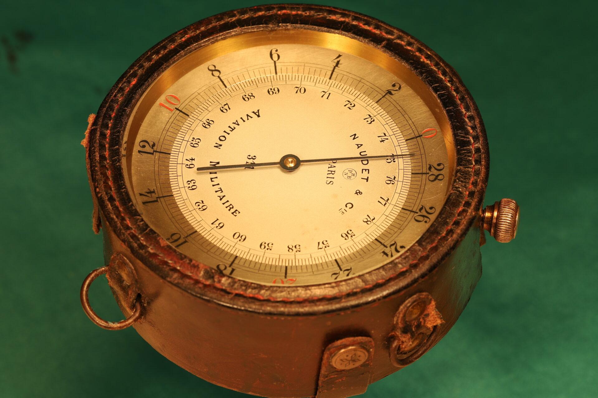Image of Naudet WWI Aircraft Altimeter No 311 c1914 in flight case