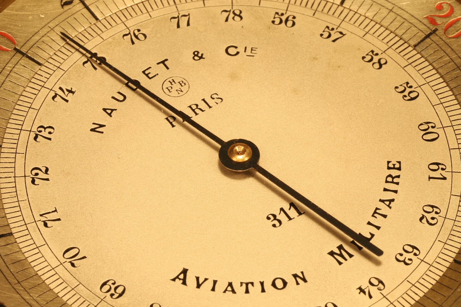 Close up of dial of Naudet WWI Aircraft Altimeter No 311 c1914